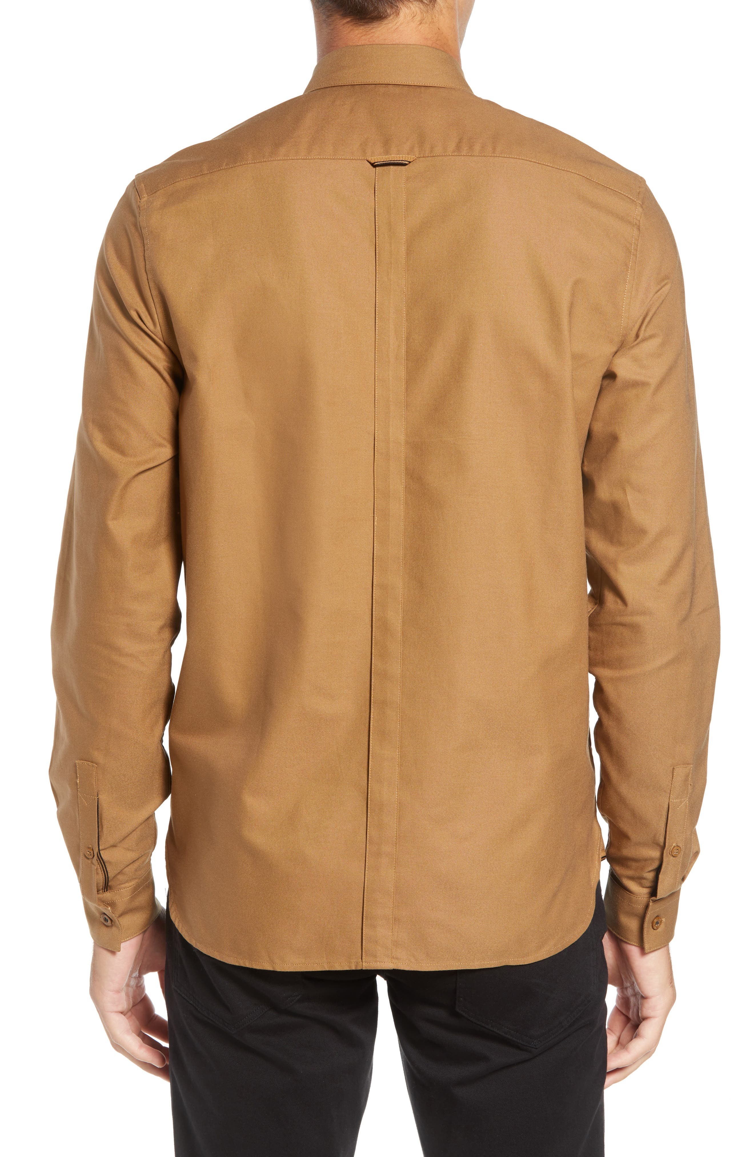 Solid Sport Shirt,                             Alternate thumbnail 3, color,                             CARAMEL