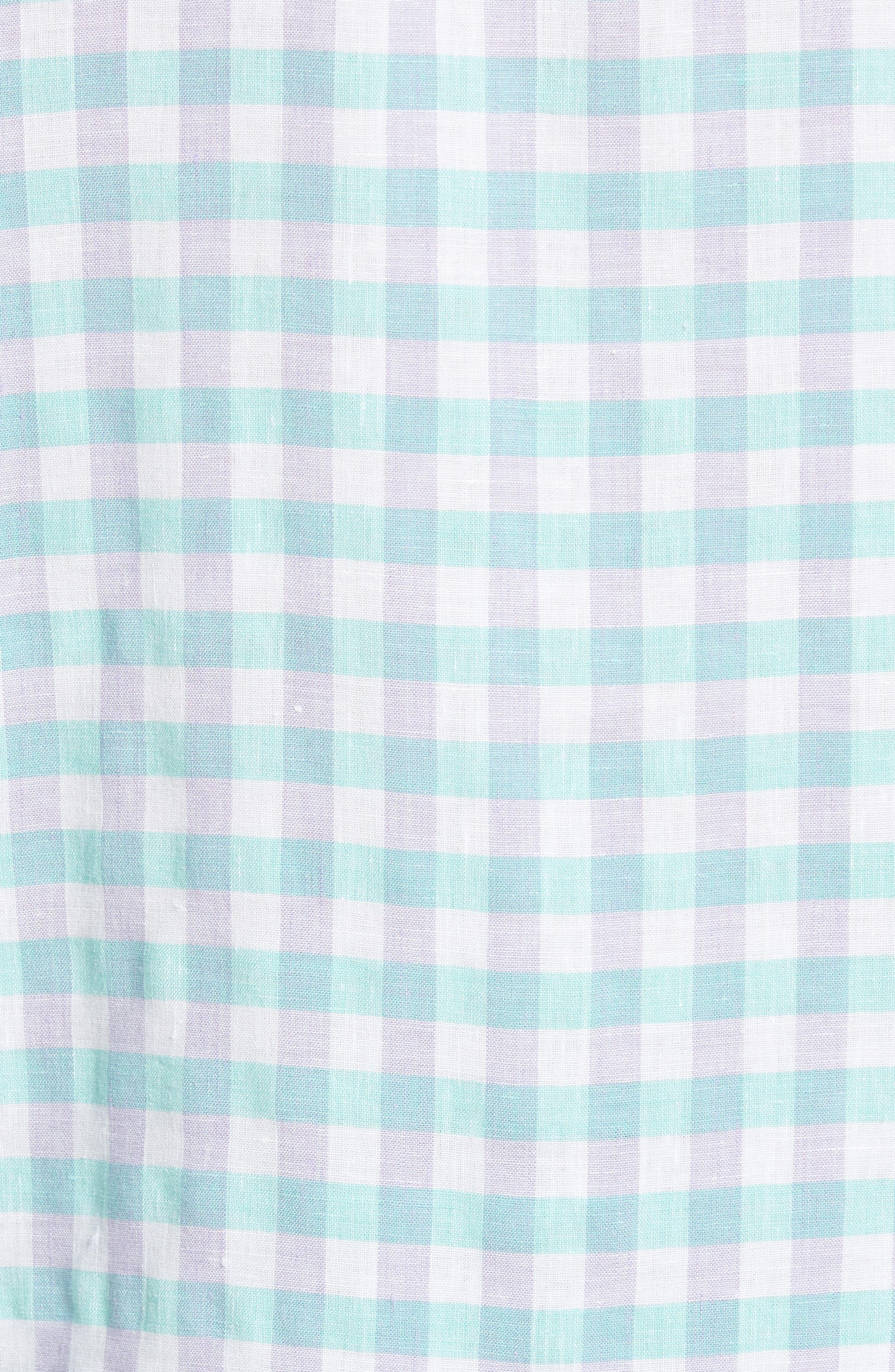 Gingham Del Toro Linen Blend Sport Shirt,                             Alternate thumbnail 10, color,