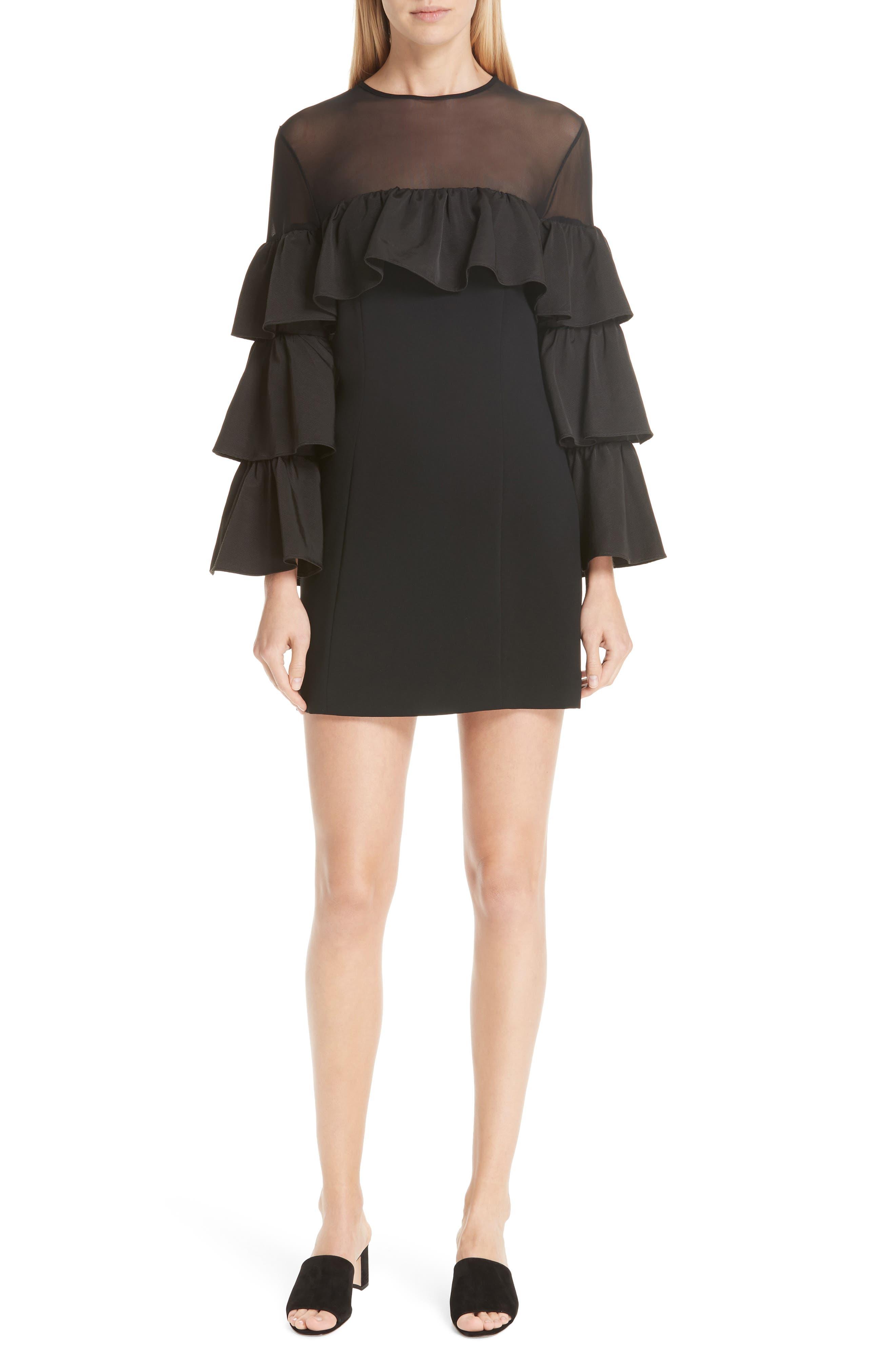Valentina Ruffle Sleeve Dress,                             Main thumbnail 1, color,                             001