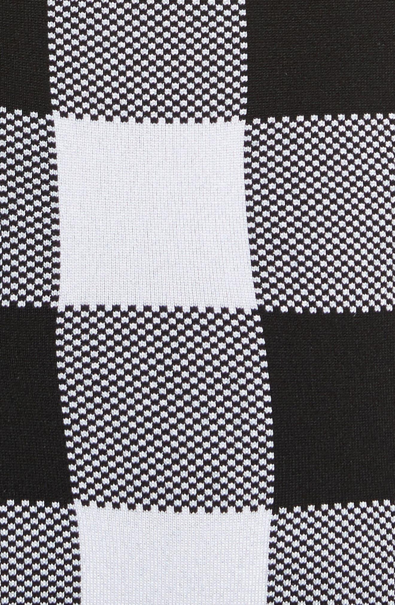 Buffalo Check Knit Flare Hem Dress,                             Alternate thumbnail 5, color,                             001