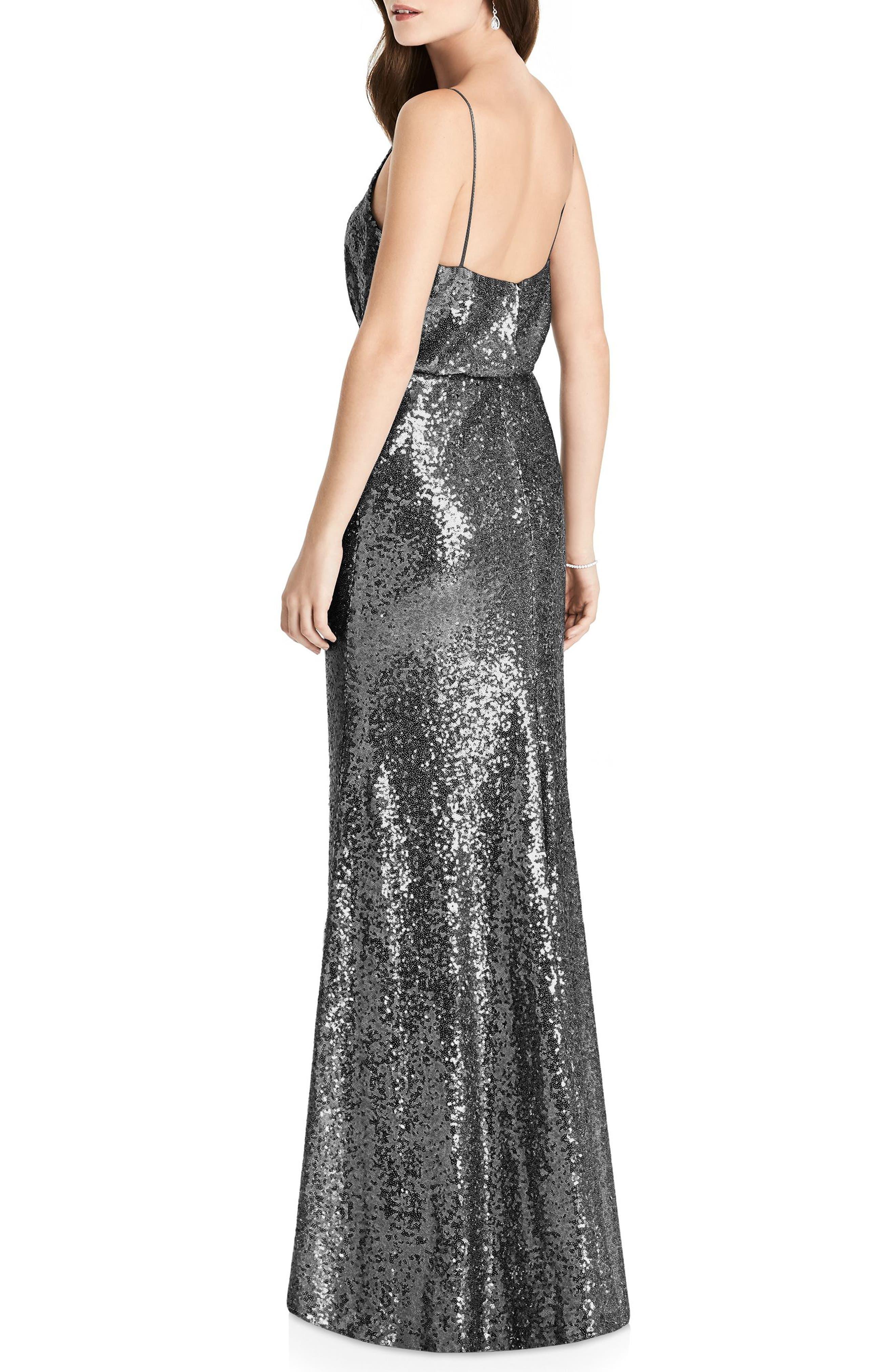 Sequin Blouson Gown,                             Alternate thumbnail 2, color,                             STARDUST