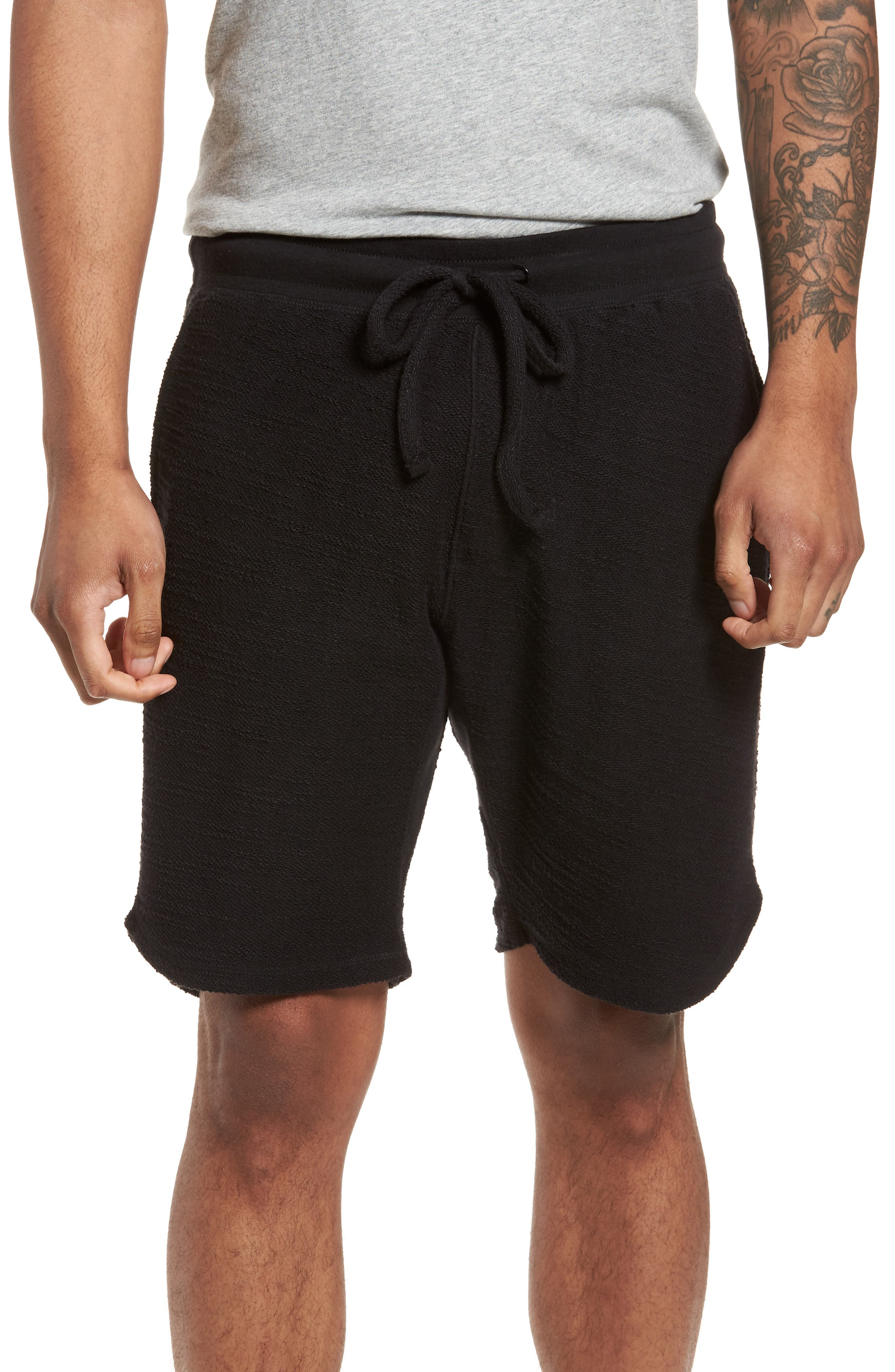 Terry Cotton Blend Shorts,                             Main thumbnail 1, color,                             001