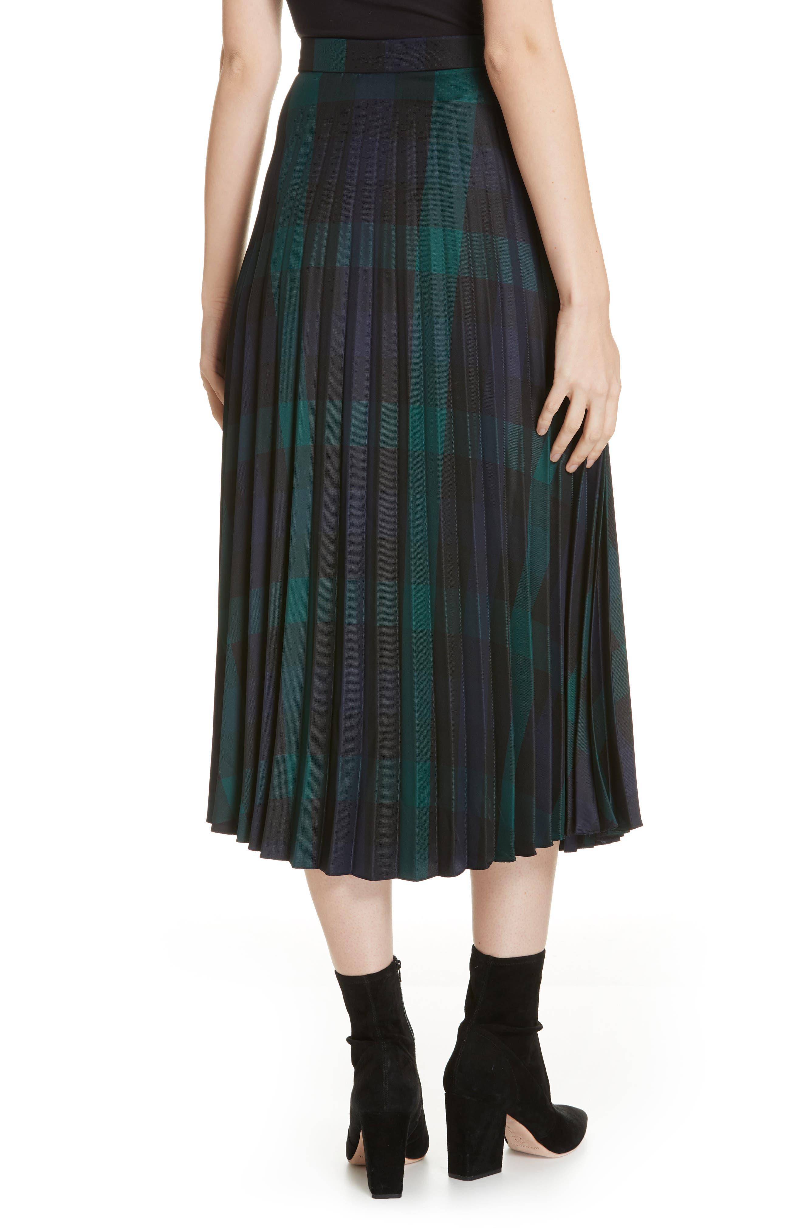 Plaid Pleated Midi Skirt,                             Alternate thumbnail 2, color,                             DEEP NAVY