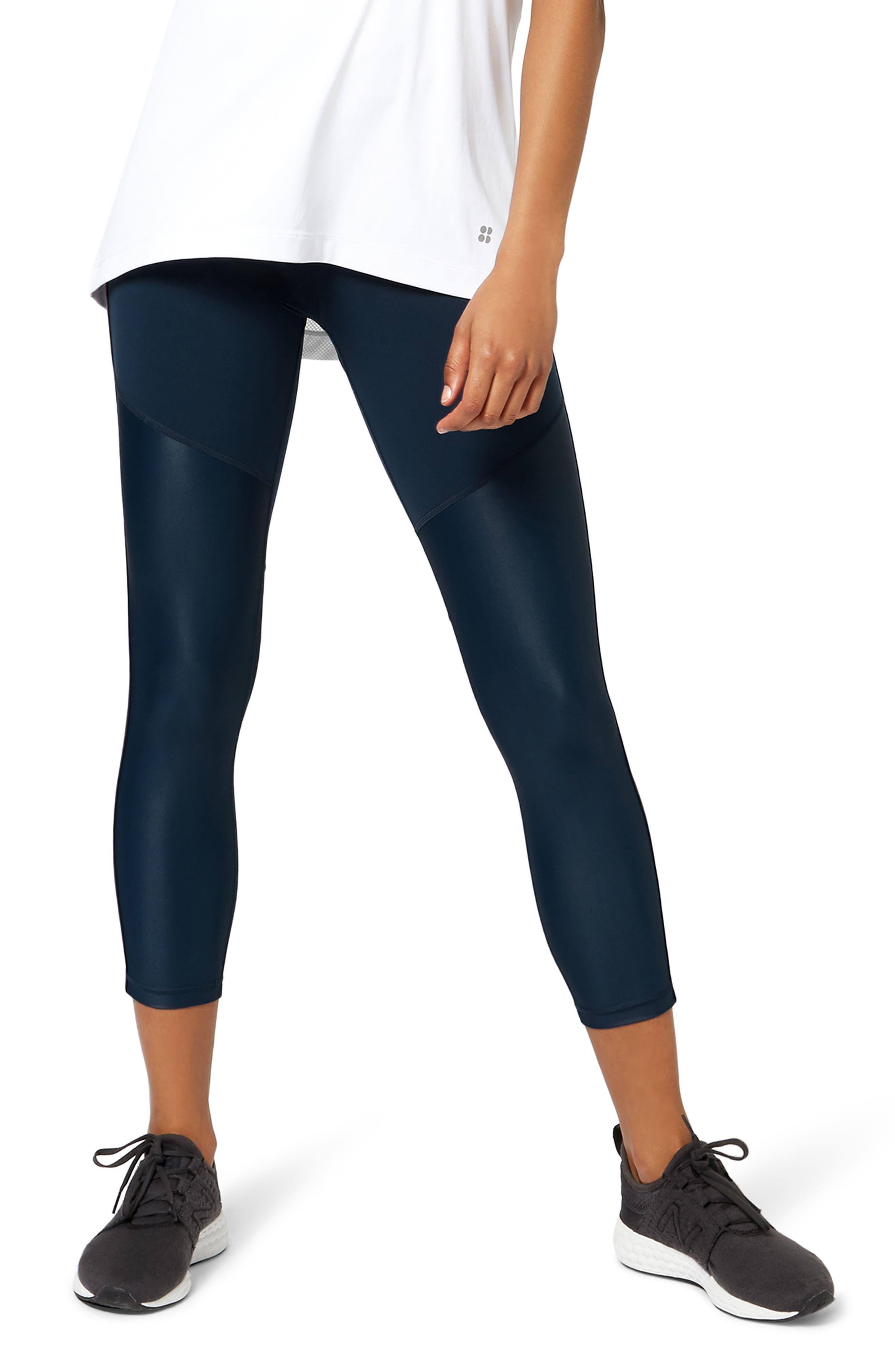 Power Mesh Crop Leggings,                         Main,                         color, BEETLE BLUE