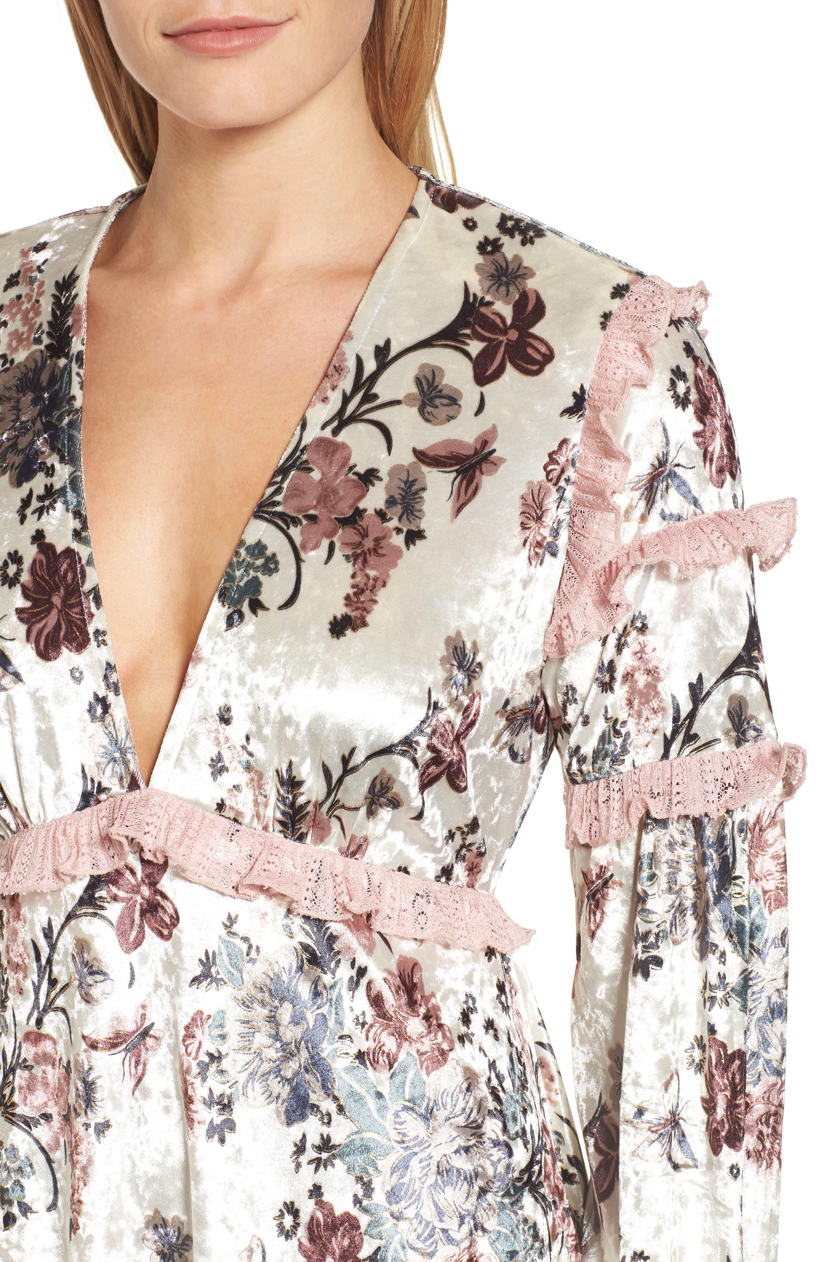Melisa Floral Velvet & Lace Shift Dress,                             Alternate thumbnail 4, color,                             100