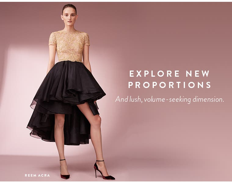 Explore new proportions and lush, volume-seeking dimension. Reem Acra high/low dress.