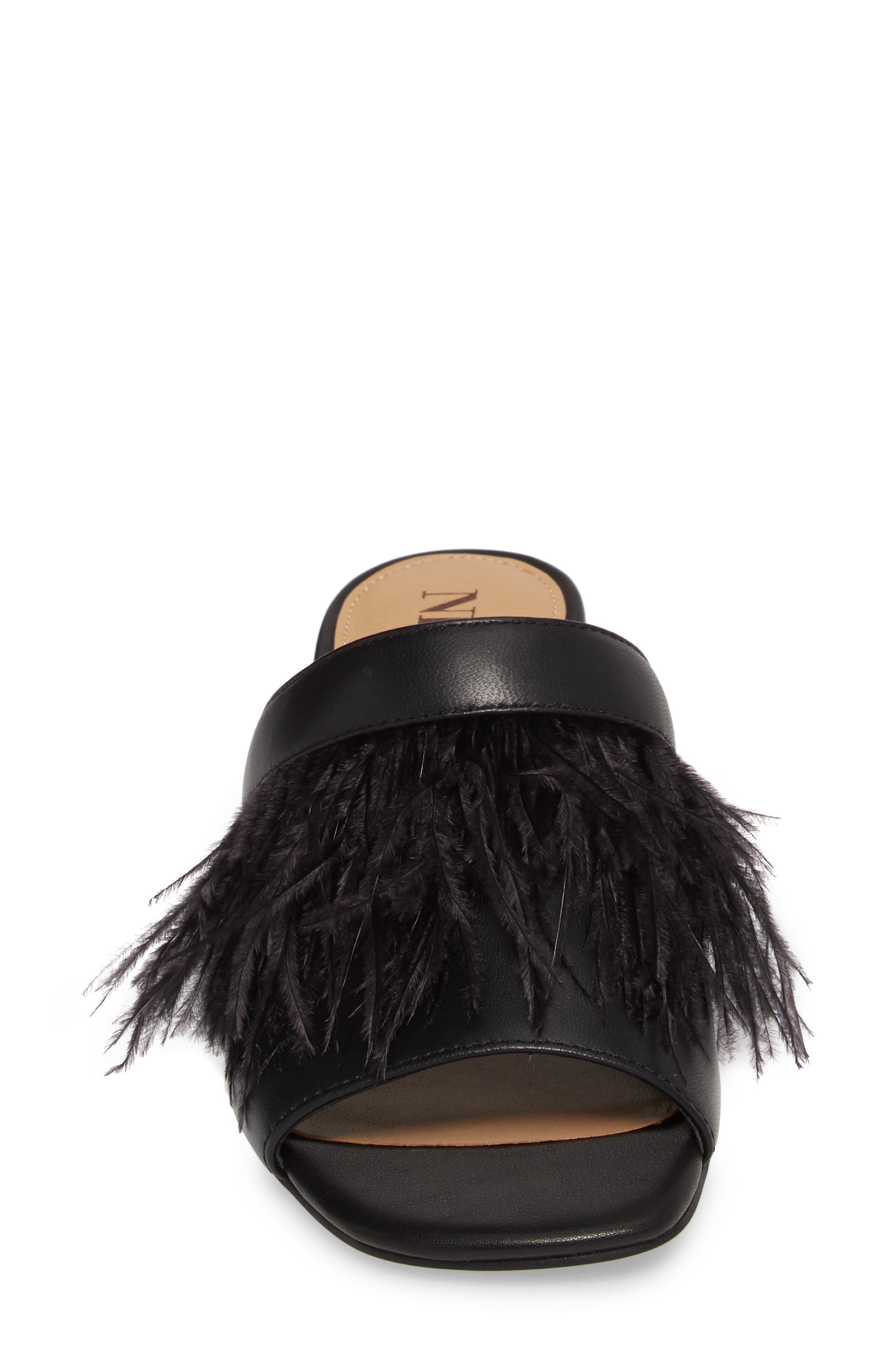 NIC + ZOE Feather Mule,                             Alternate thumbnail 4, color,                             BLACK LEATHER