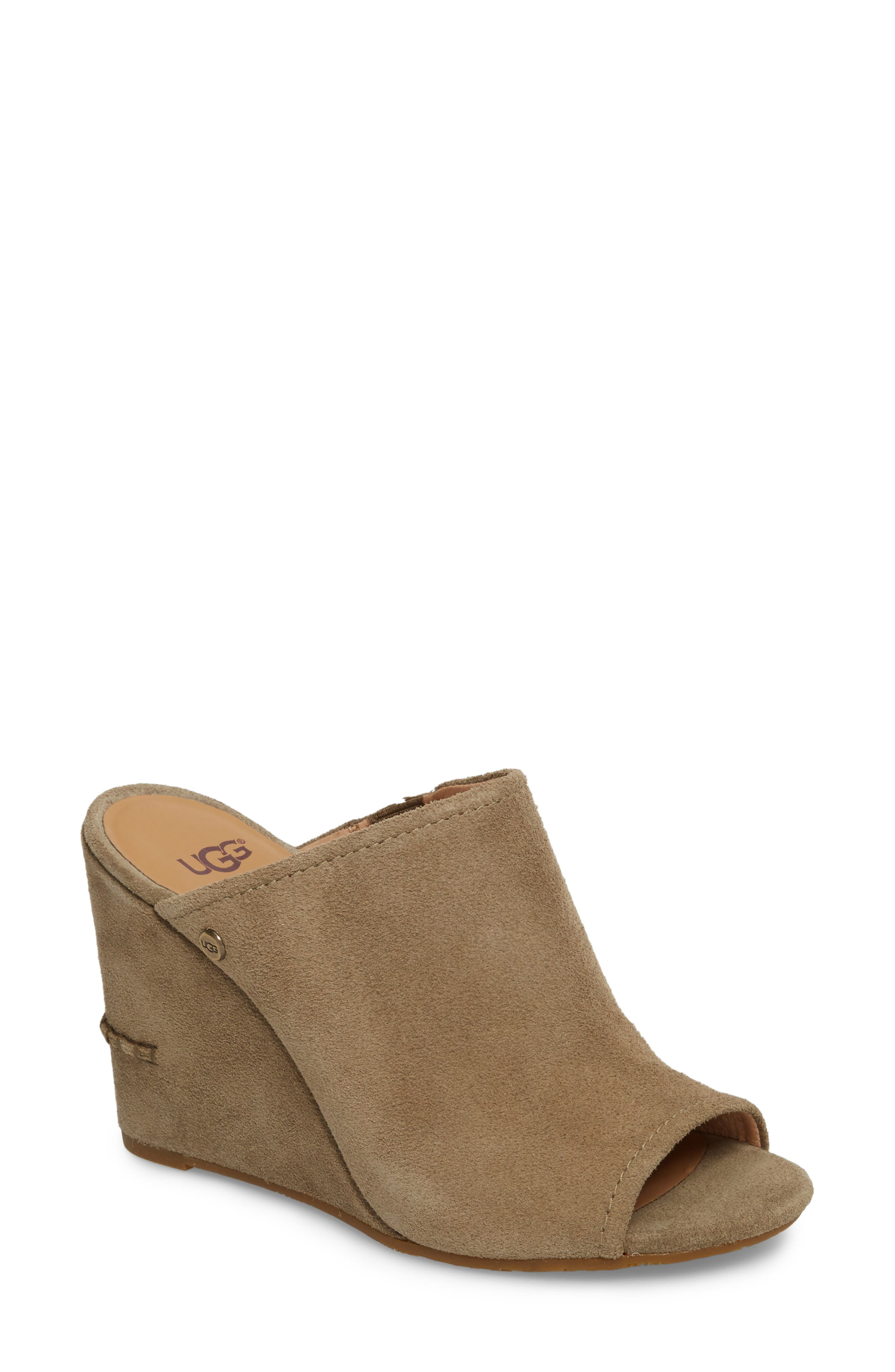 Lively Wedge Slide Sandal,                             Main thumbnail 1, color,                             ANTELOPE SUEDE