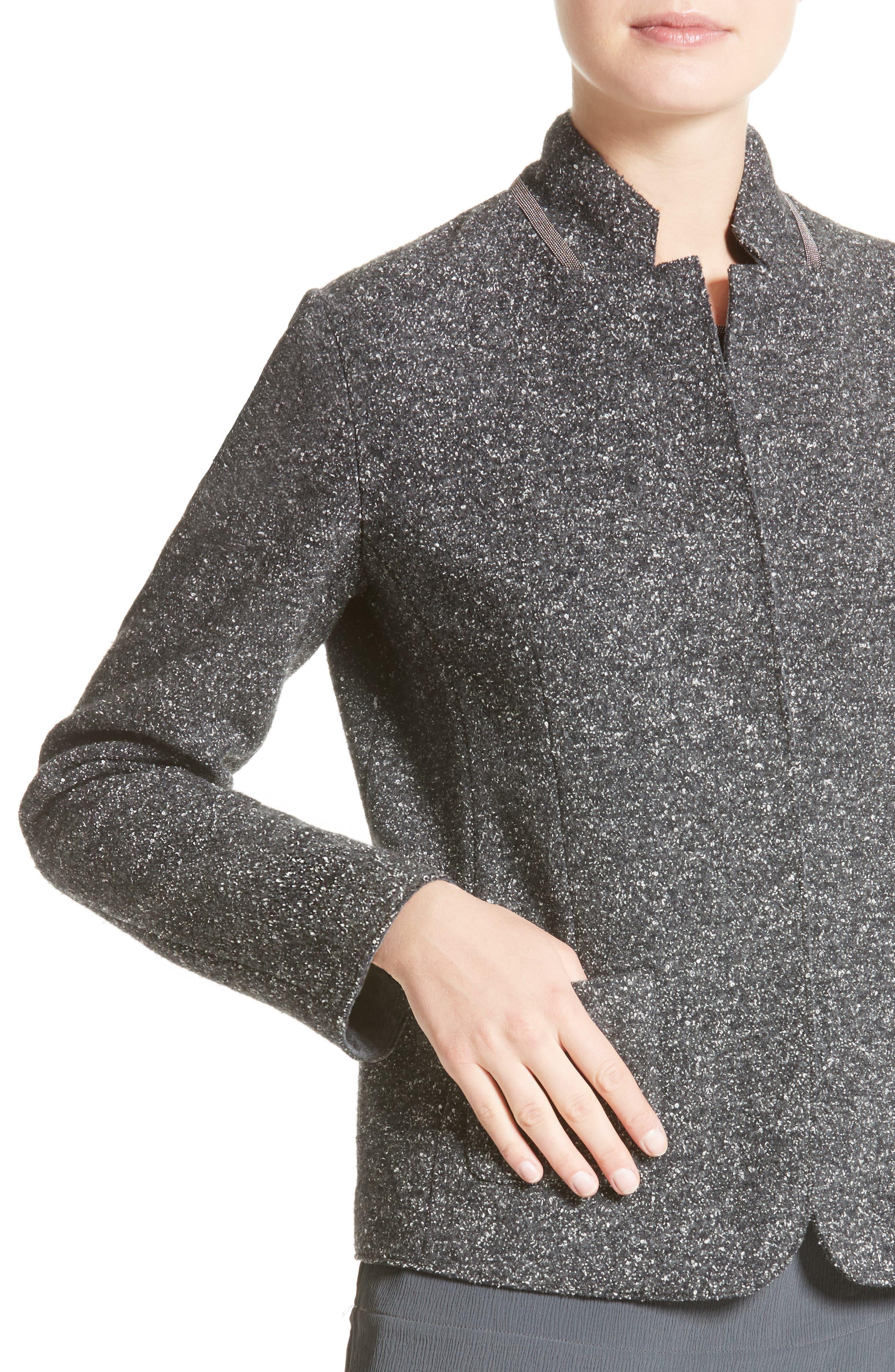 Pebble Tweed Knit Jacket,                             Alternate thumbnail 5, color,