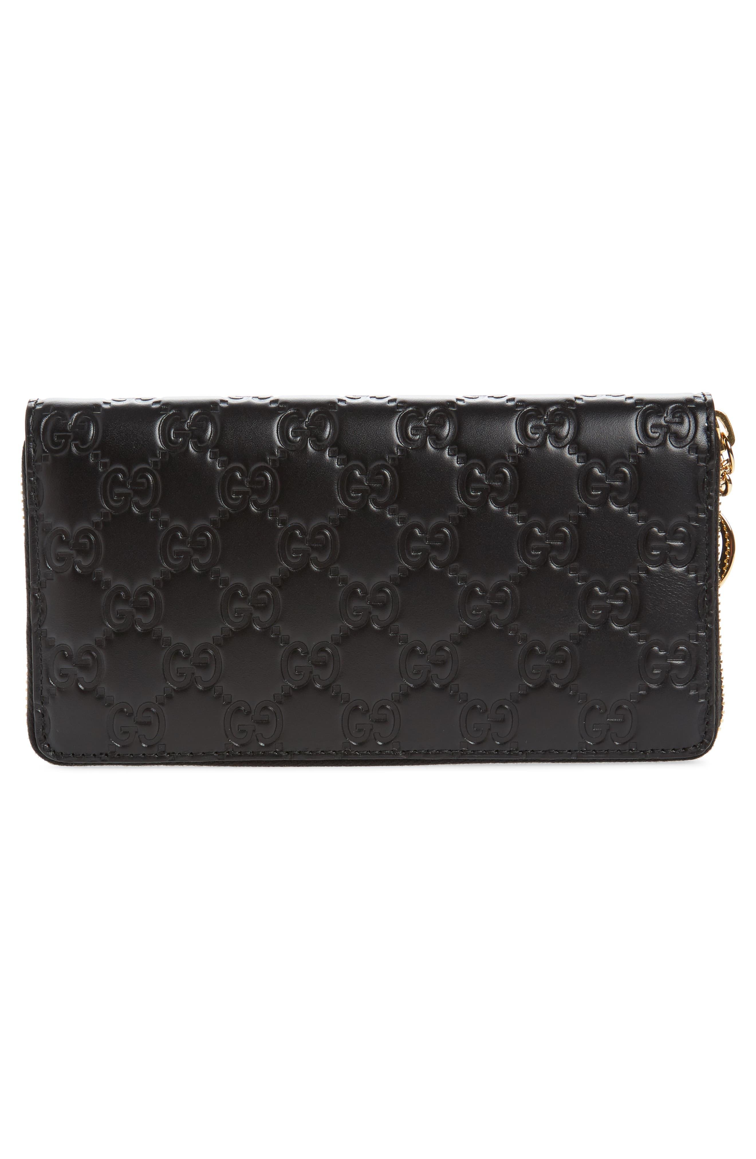 Icon Leather Zip-Around Wallet,                             Alternate thumbnail 3, color,                             001