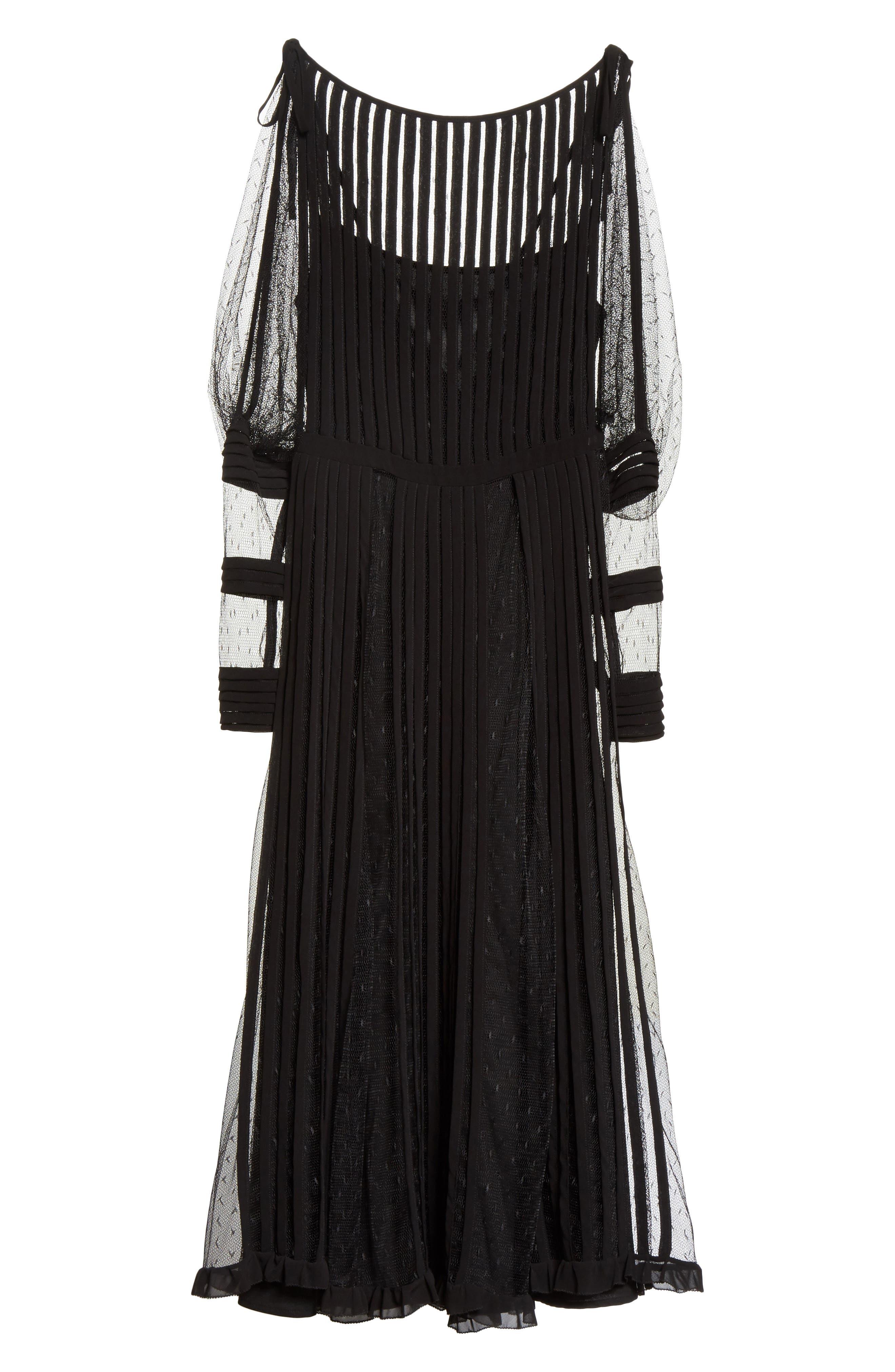 Point d'Esprit & Georgette Midi Dress,                             Alternate thumbnail 6, color,