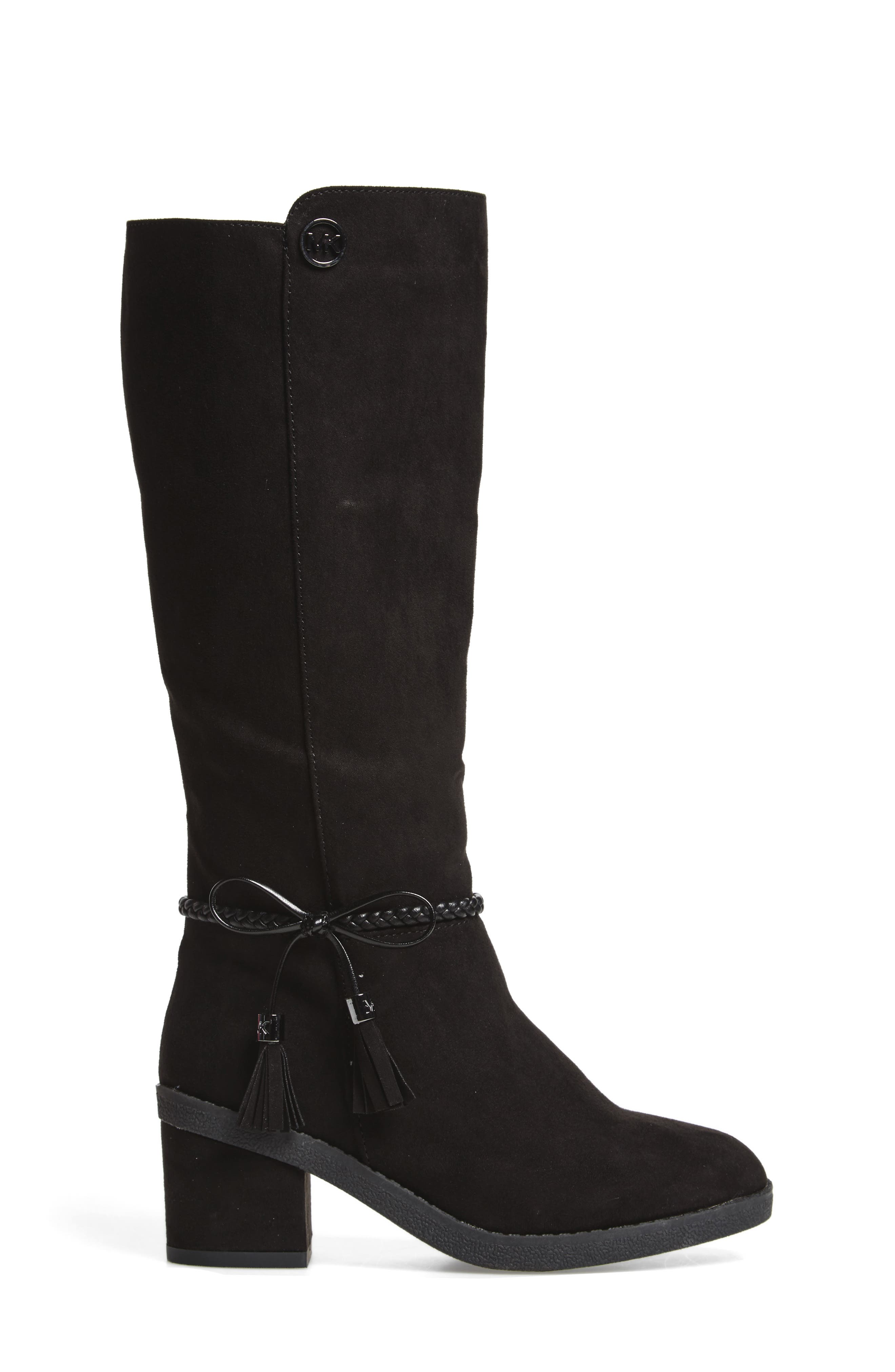 Fawn Simmy Riding Boot,                             Alternate thumbnail 3, color,                             BLACK FAUX SUEDE