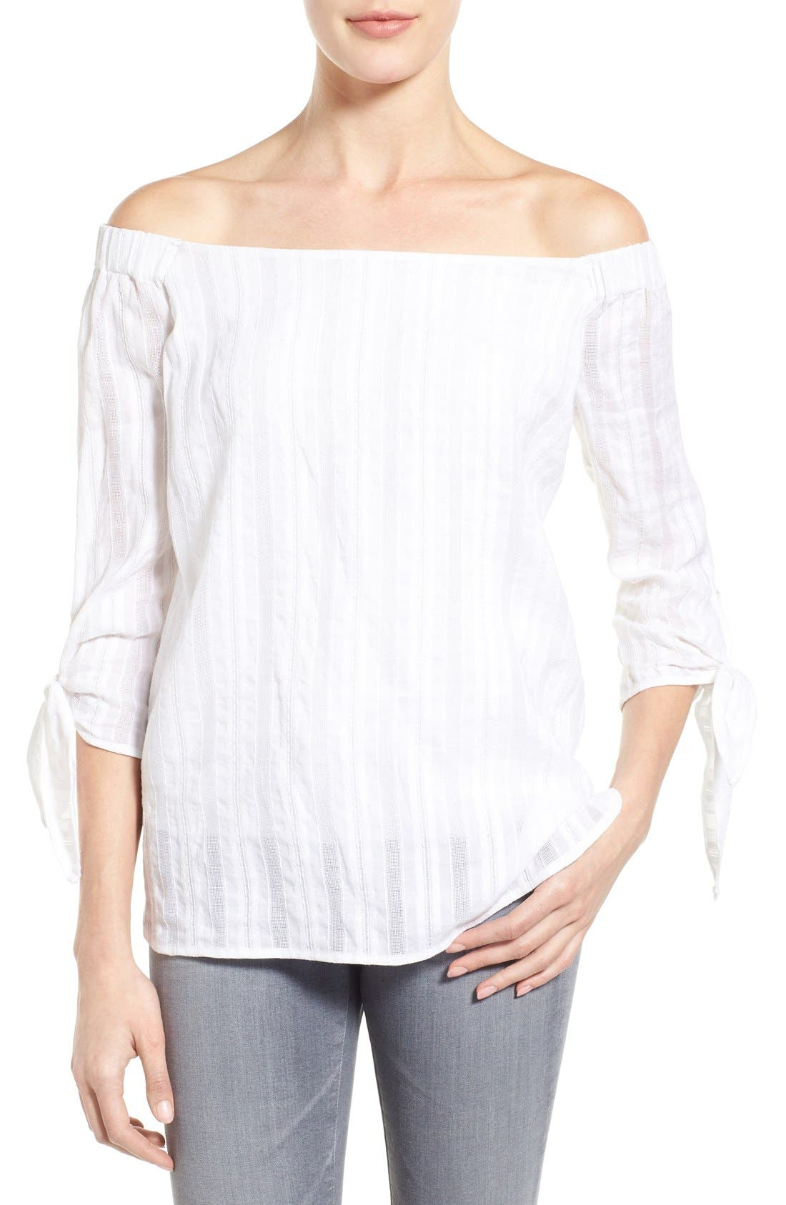 'Yarrow' Woven Stripe Off the Shoulder Top,                             Main thumbnail 1, color,                             105