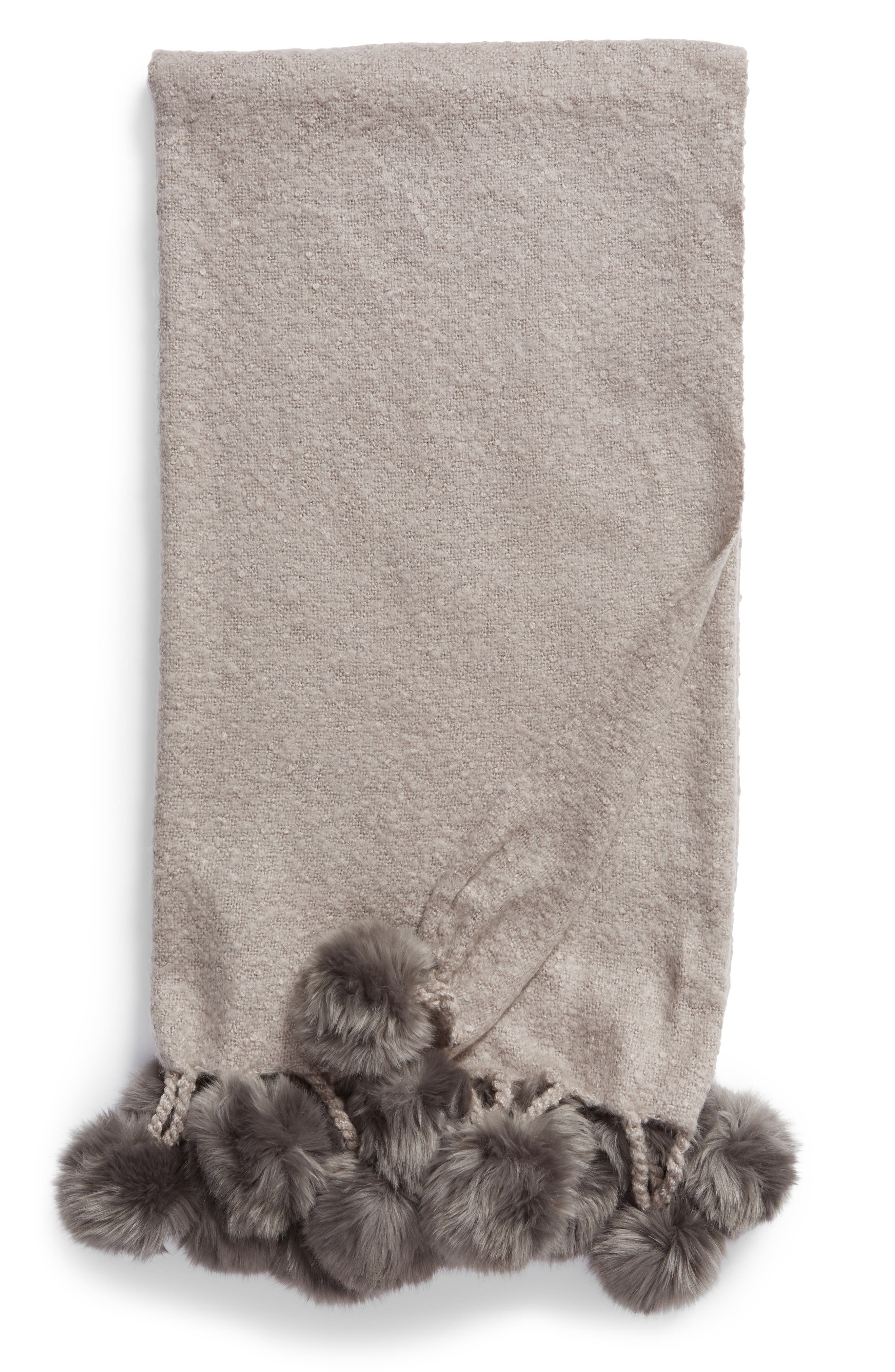 Faux Fur Throw,                             Main thumbnail 1, color,                             GREY FROST