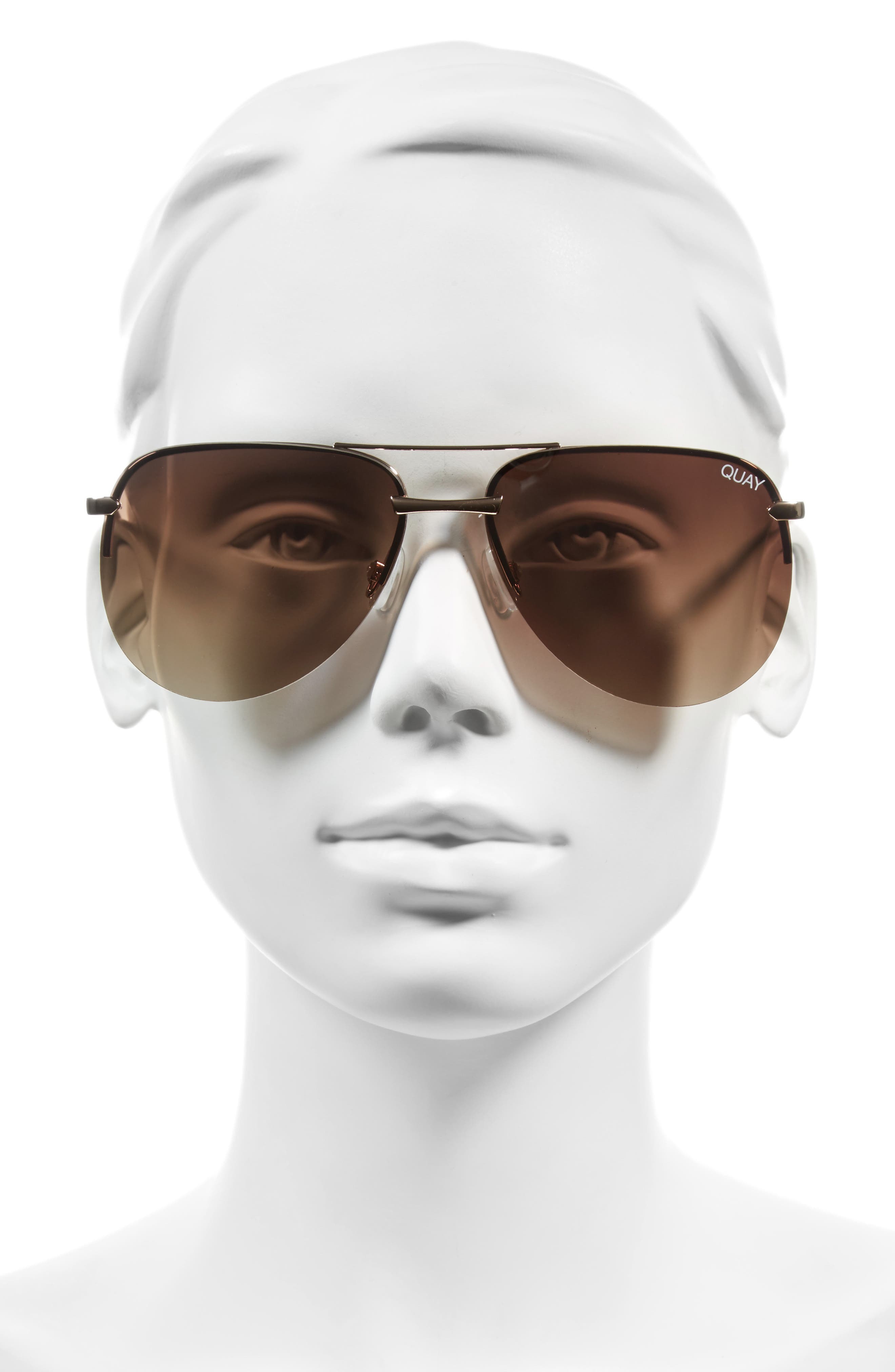 The Playa 64mm Aviator Sunglasses,                             Alternate thumbnail 3, color,                             GOLD/ BROWN