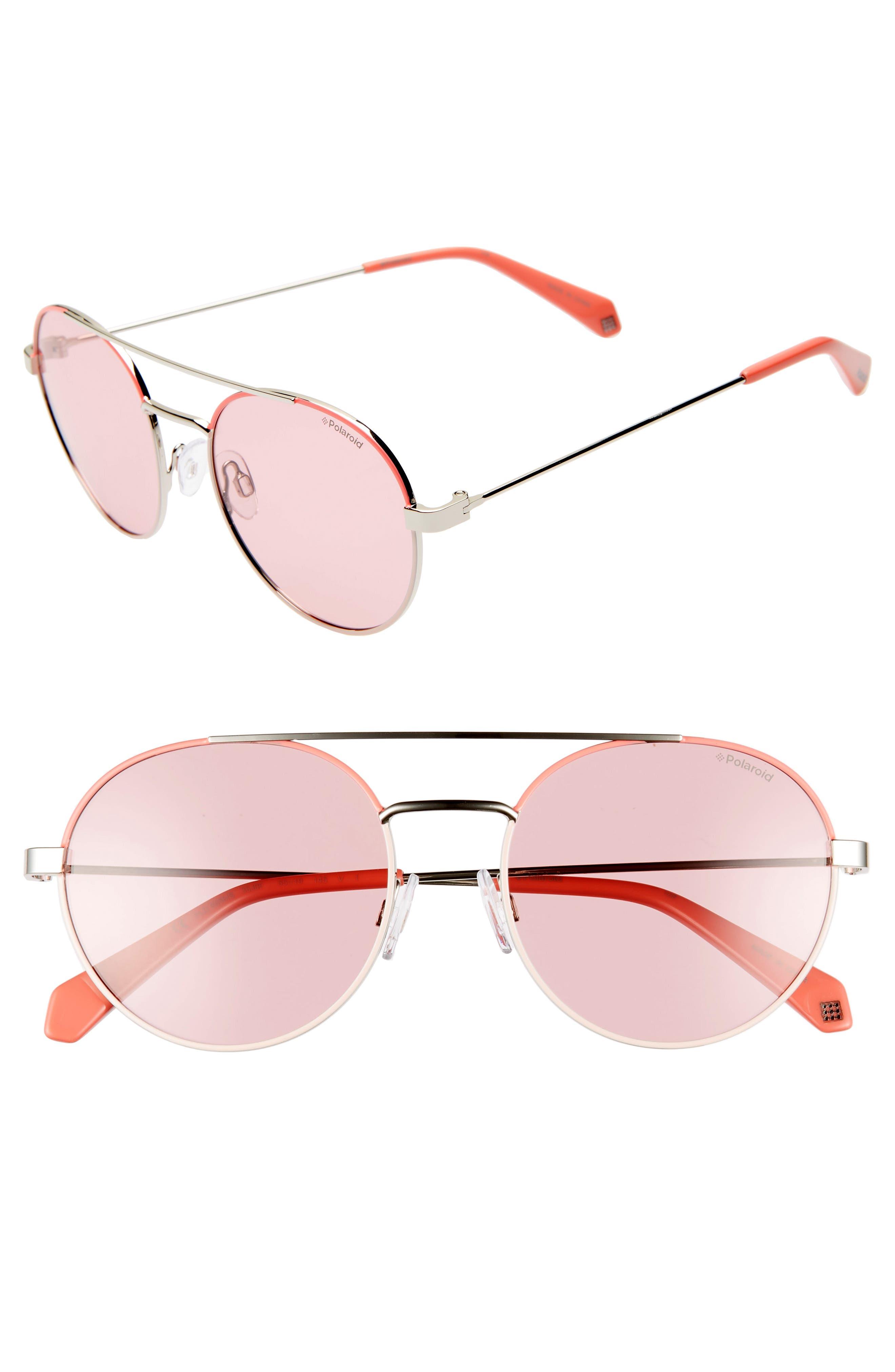 Polaroid 55Mm Polarized Round Aviator Sunglasses - Pink/ Silver