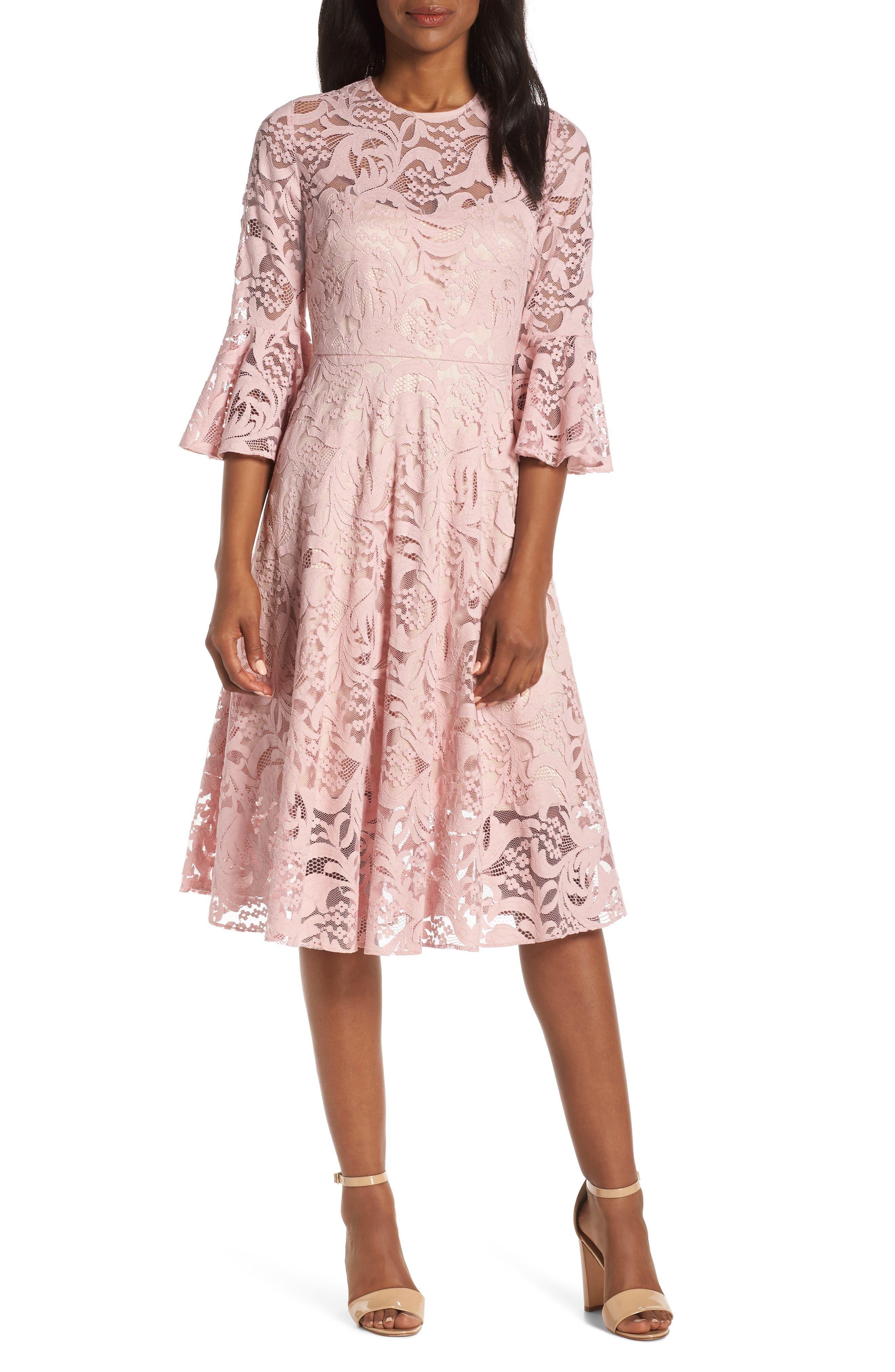 Eliza J Ruffle Sleeve Fit & Flare Lace Dress, Pink