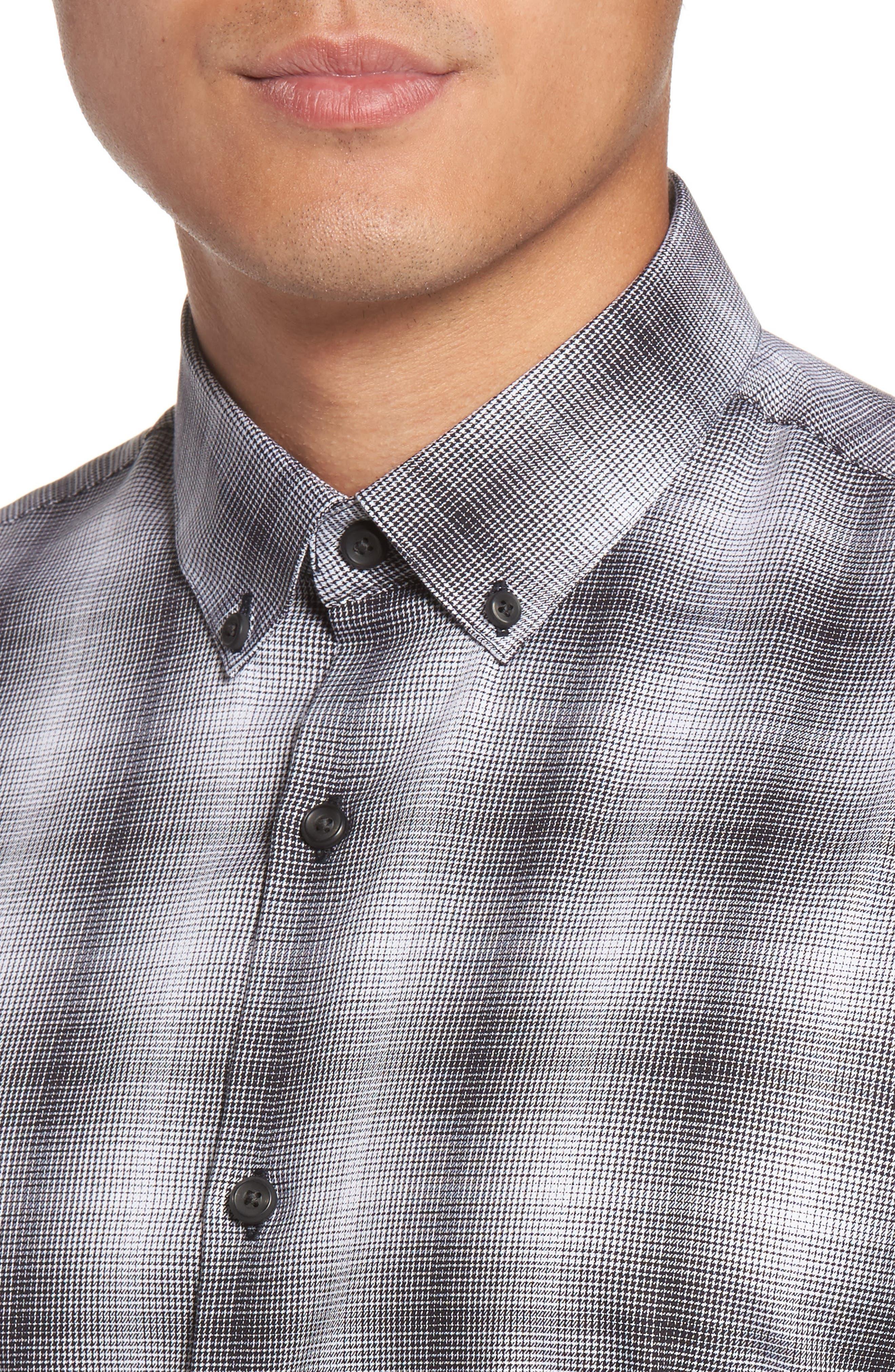 Non-Iron Moiré Plaid Woven Shirt,                             Alternate thumbnail 4, color,                             001