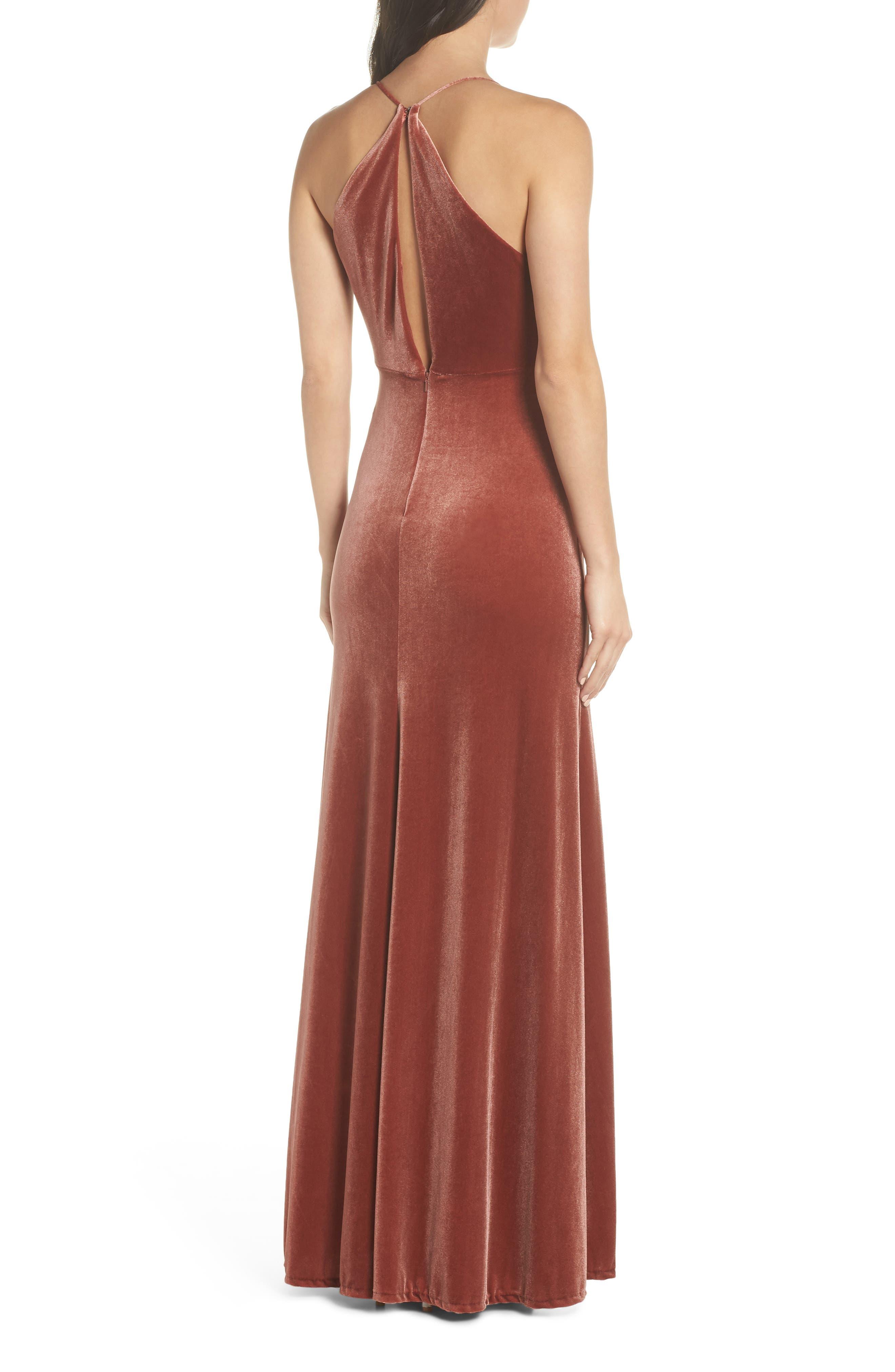 Sullivan Velvet Cowl Neck Gown,                             Alternate thumbnail 2, color,                             ENGLISH ROSE