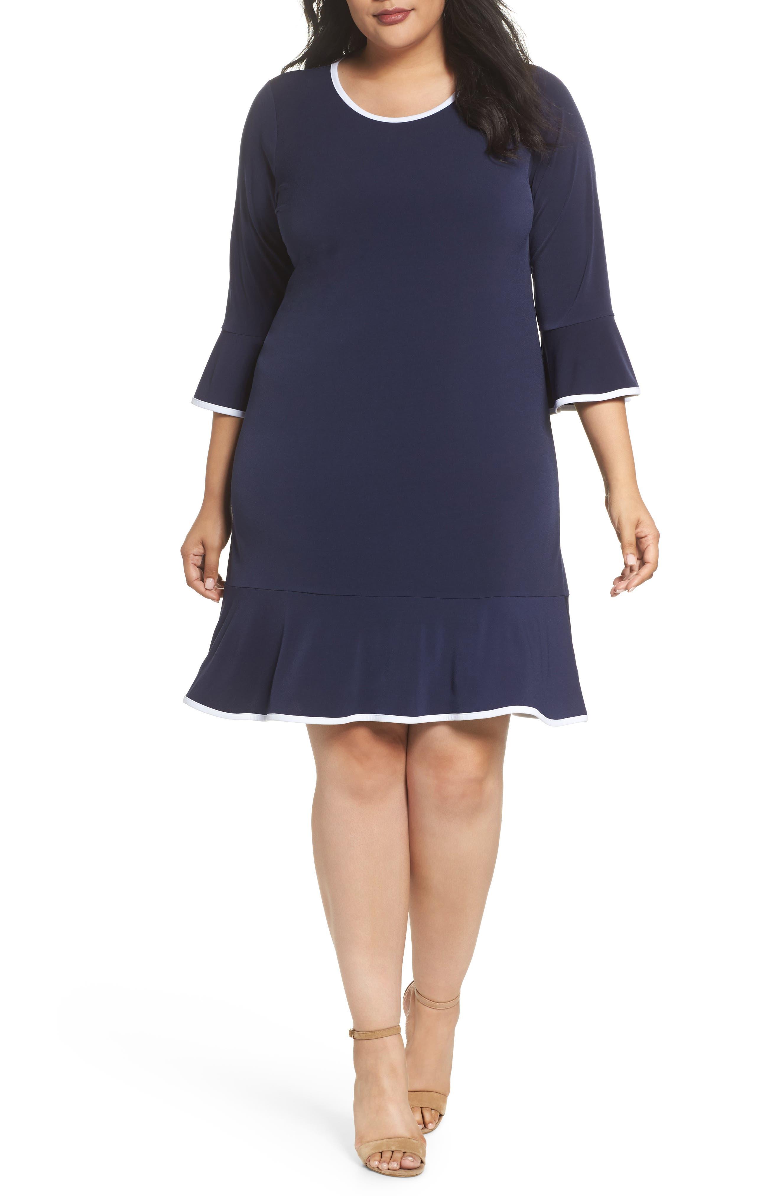 Solid Flounce Dress,                             Main thumbnail 2, color,