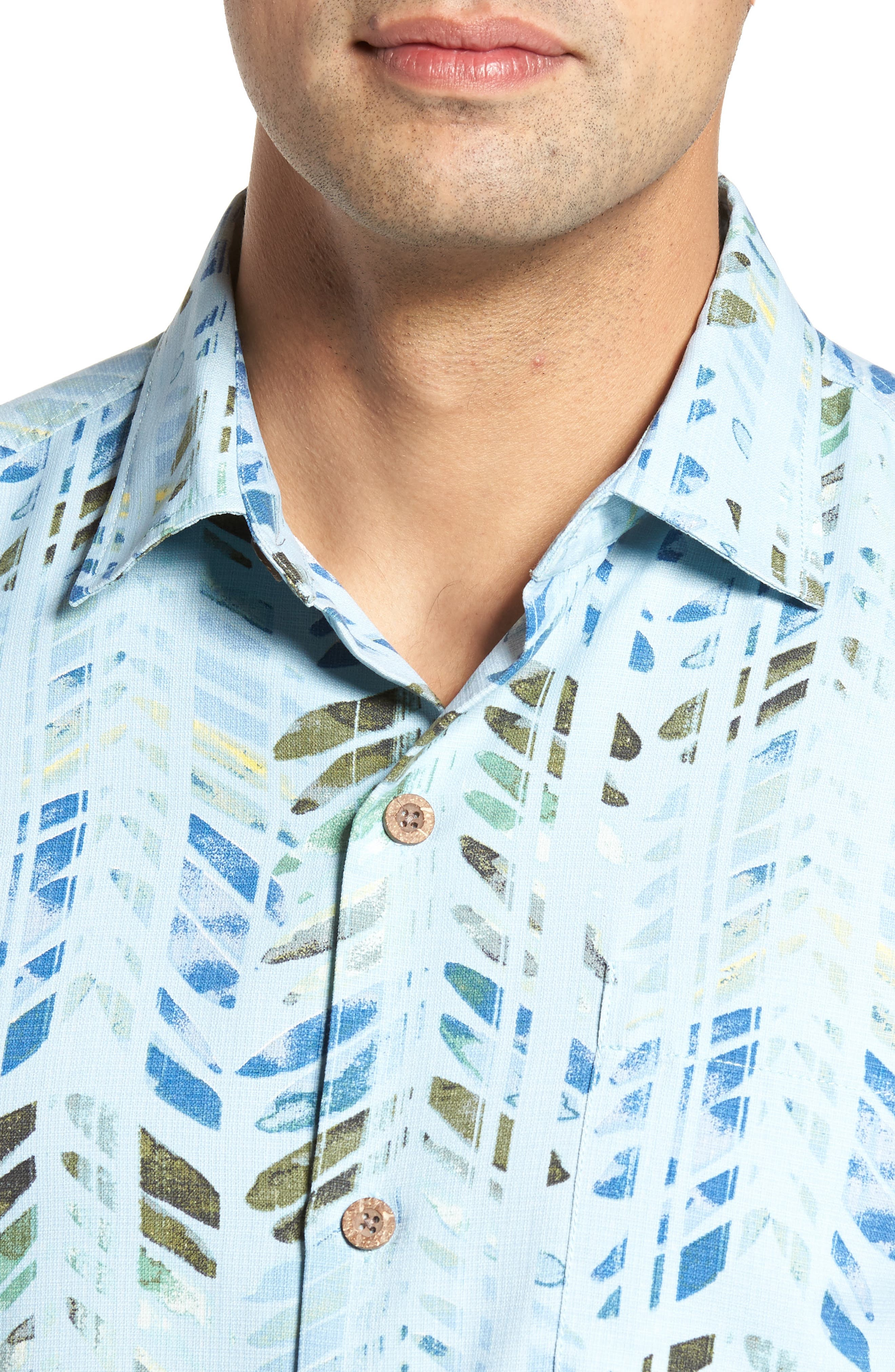 Right on Tide Silk Blend Camp Shirt,                             Alternate thumbnail 4, color,                             400