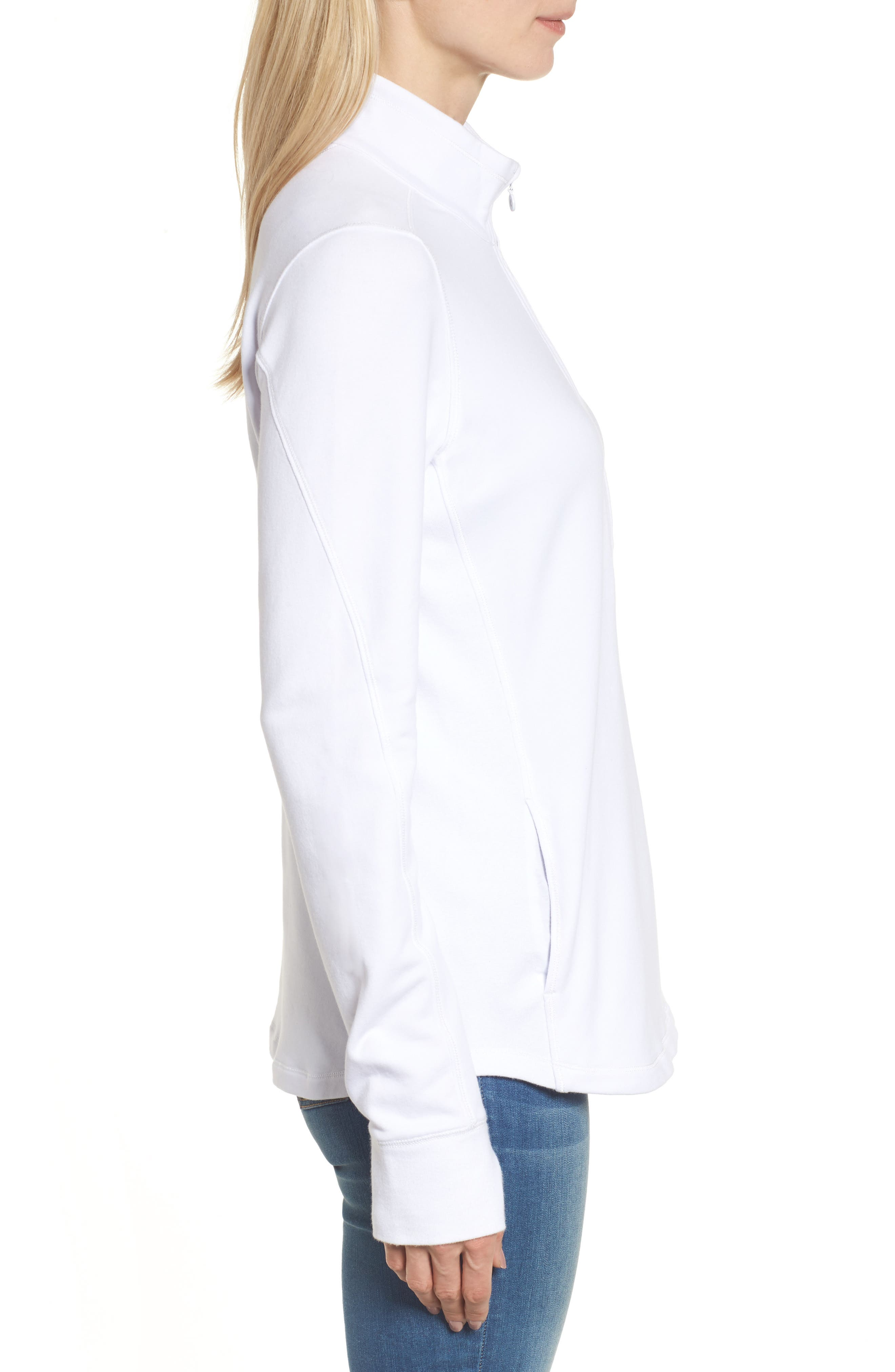 Jen and Terry Half Zip Top,                             Alternate thumbnail 3, color,                             WHITE