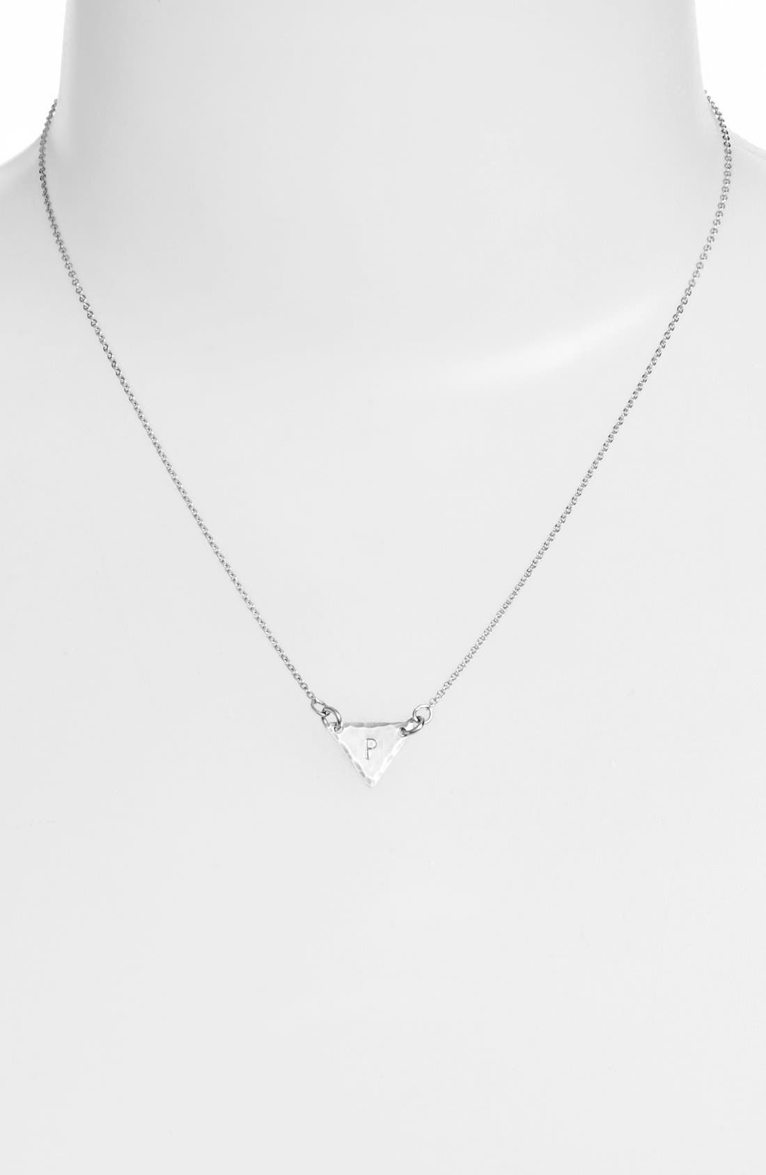 Sterling Silver Initial Mini Triangle Necklace,                             Alternate thumbnail 42, color,