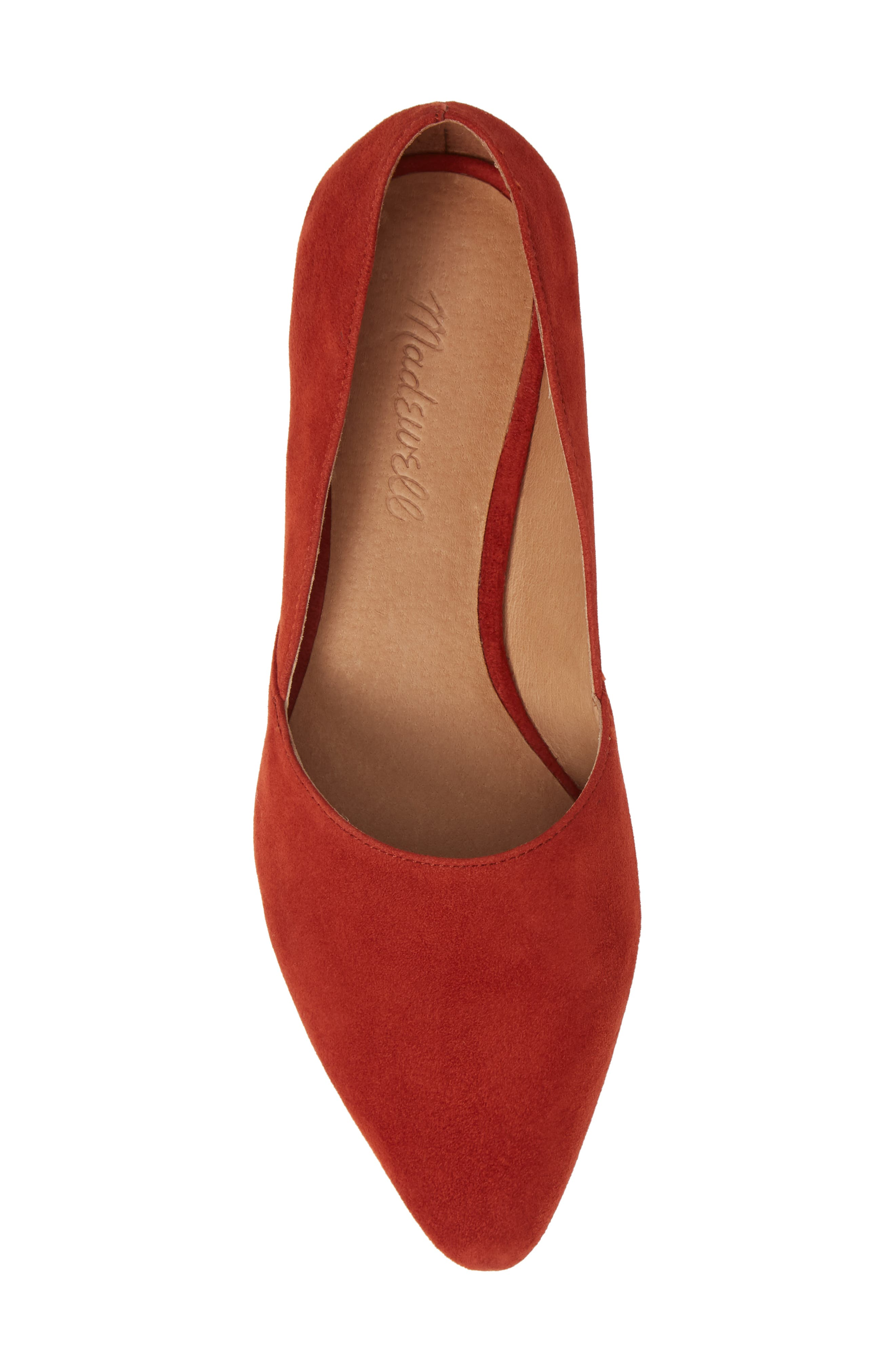 Lizbeth Pointy Toe Flat,                             Alternate thumbnail 5, color,                             DARK CINNABAR