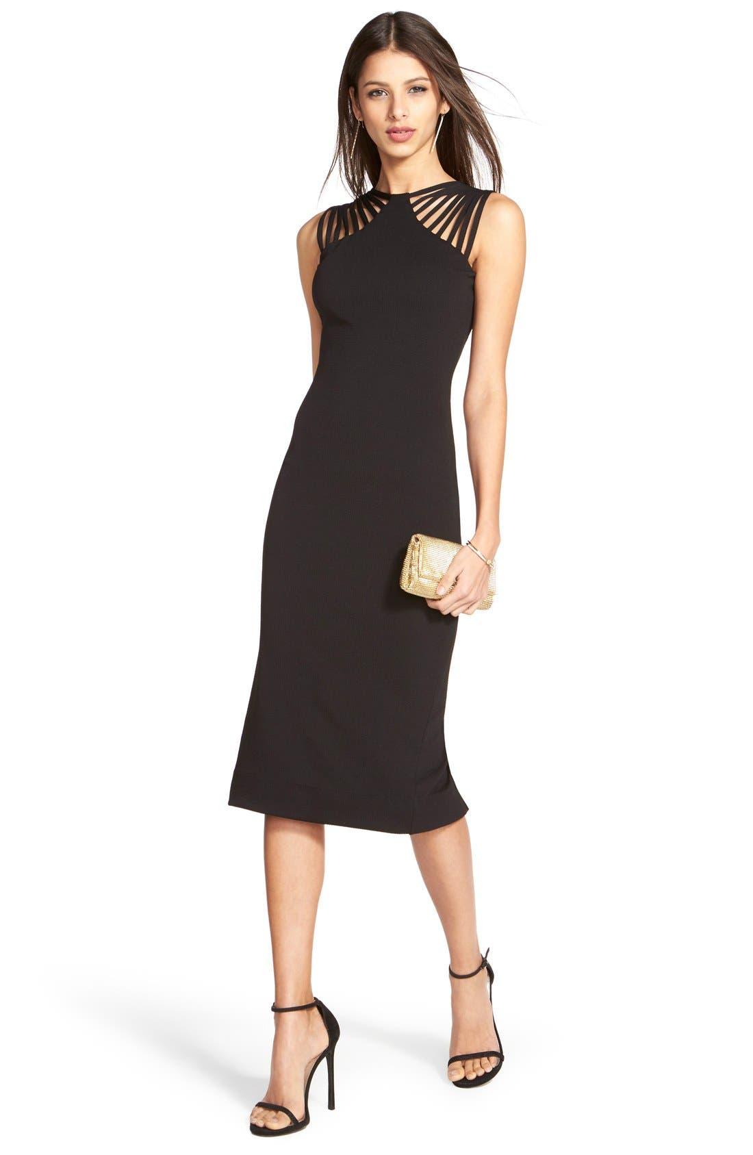 Gwen Midi Dress,                             Alternate thumbnail 4, color,                             001