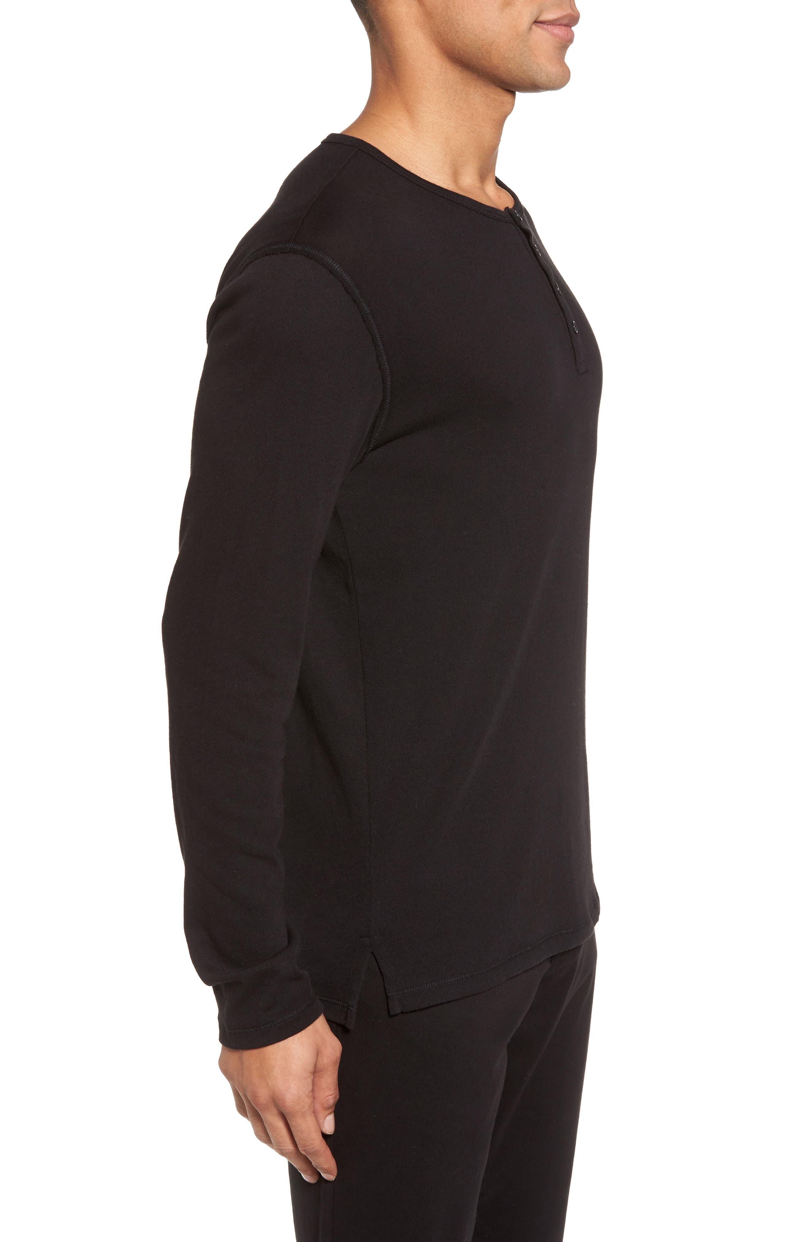 Raw Edge Long Sleeve Henley T-Shirt,                             Alternate thumbnail 3, color,                             001