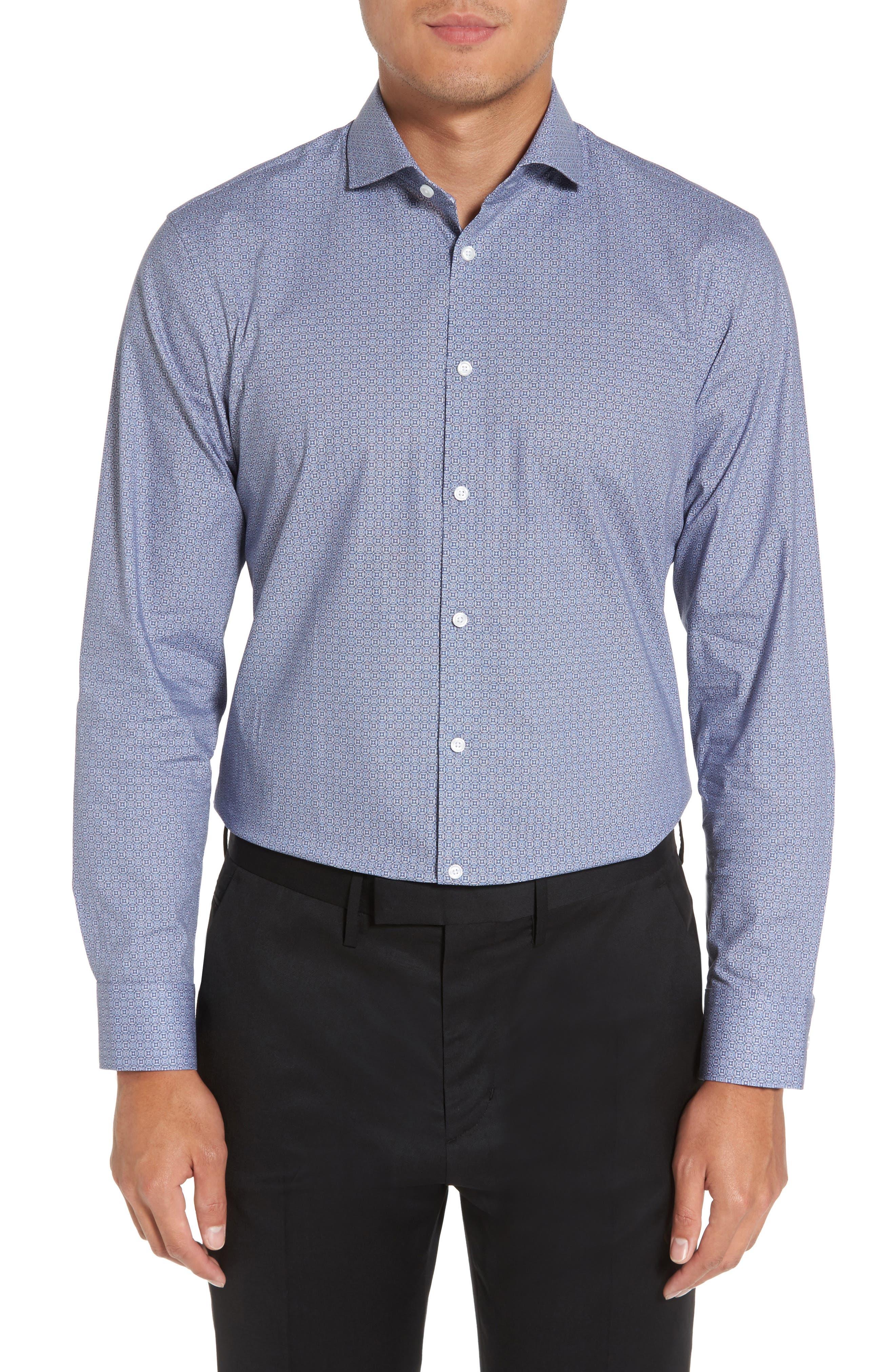 Extra Trim Fit Print Stretch Dress Shirt,                         Main,                         color, 410