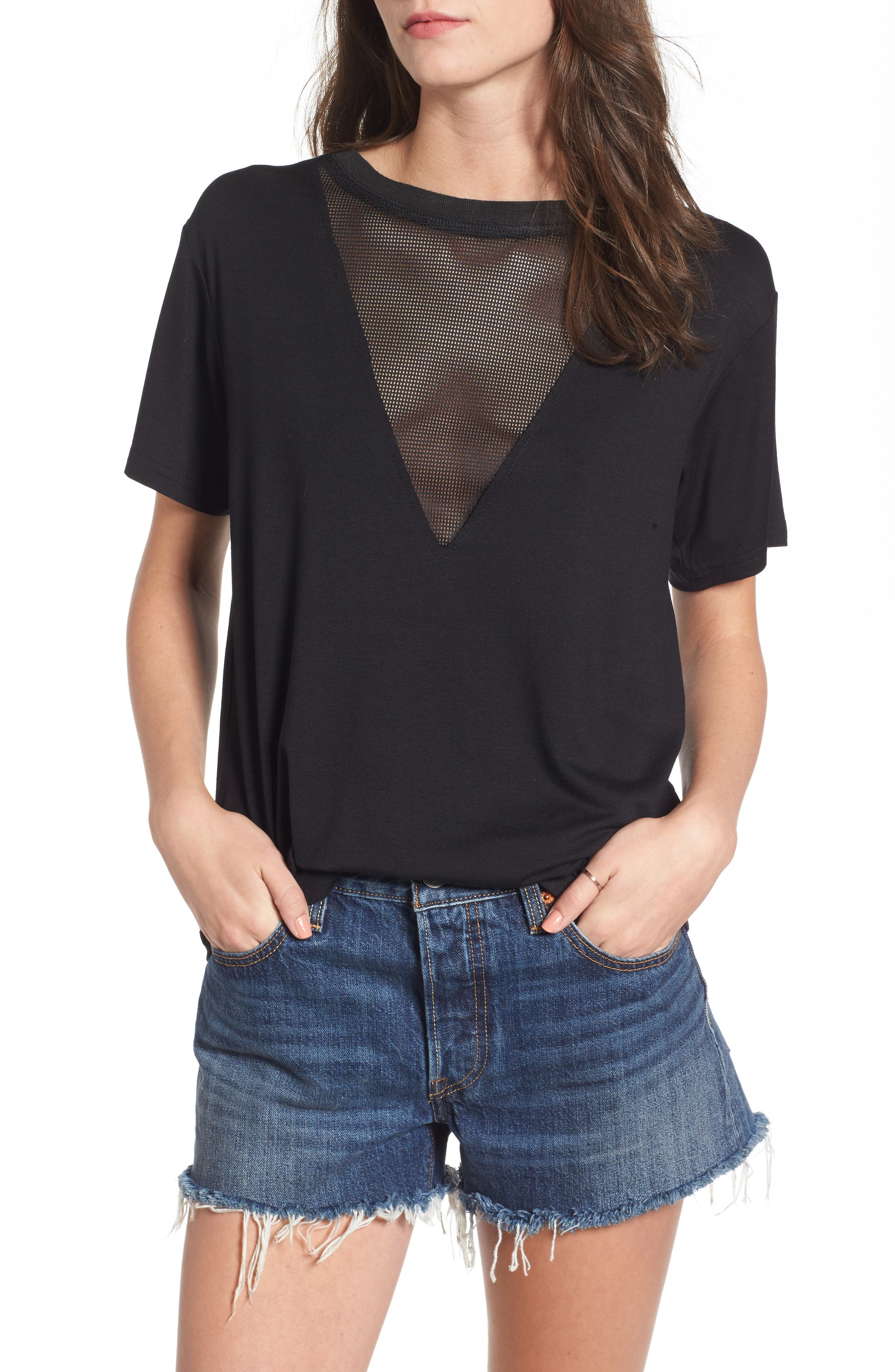 Valley Mesh Inset Tee,                         Main,                         color, 001