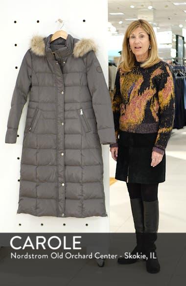 Long Down Coat with Faux Fur Trim, sales video thumbnail