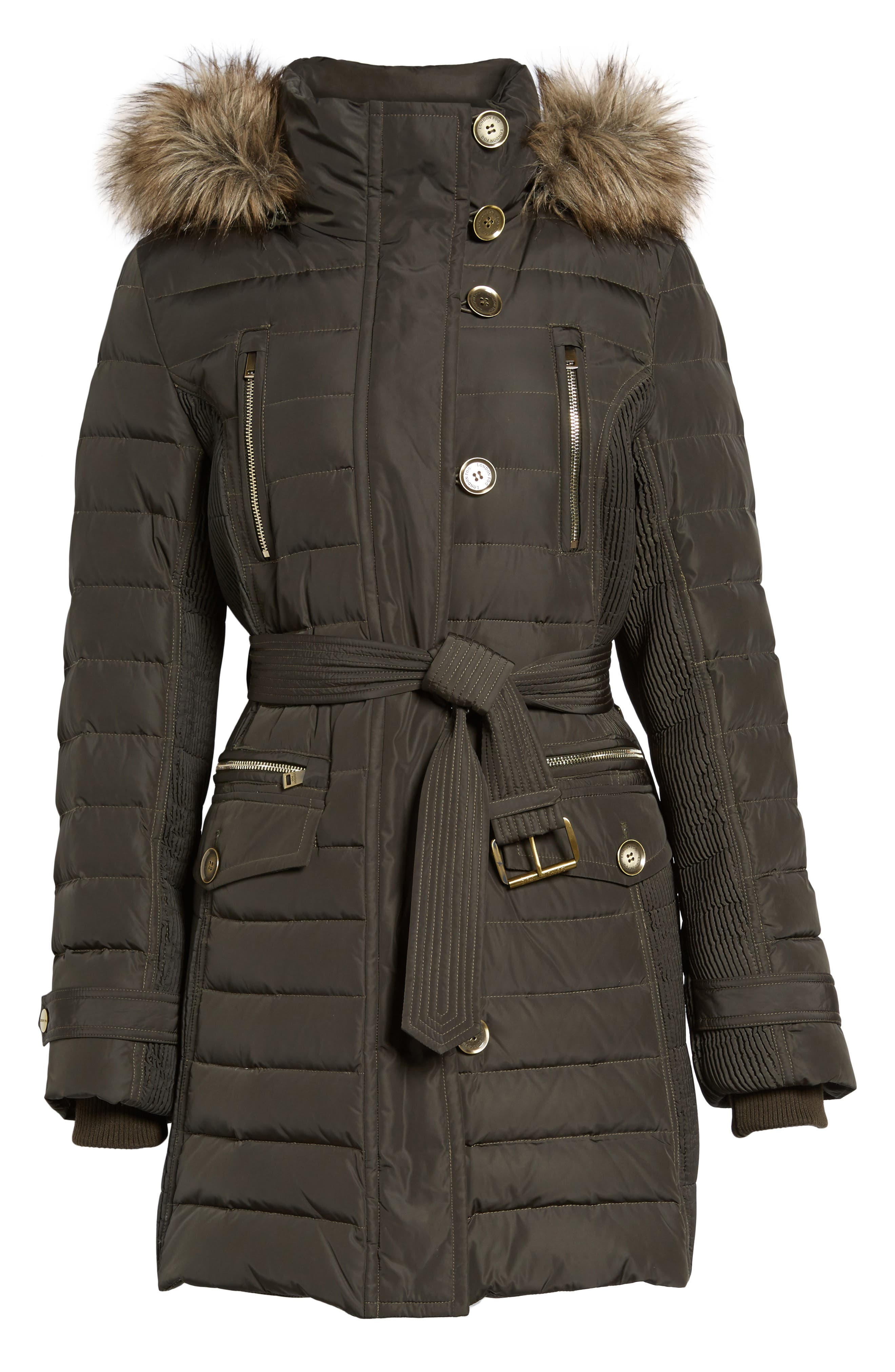 Belted Down Coat with Faux Fur Trim,                             Alternate thumbnail 11, color,