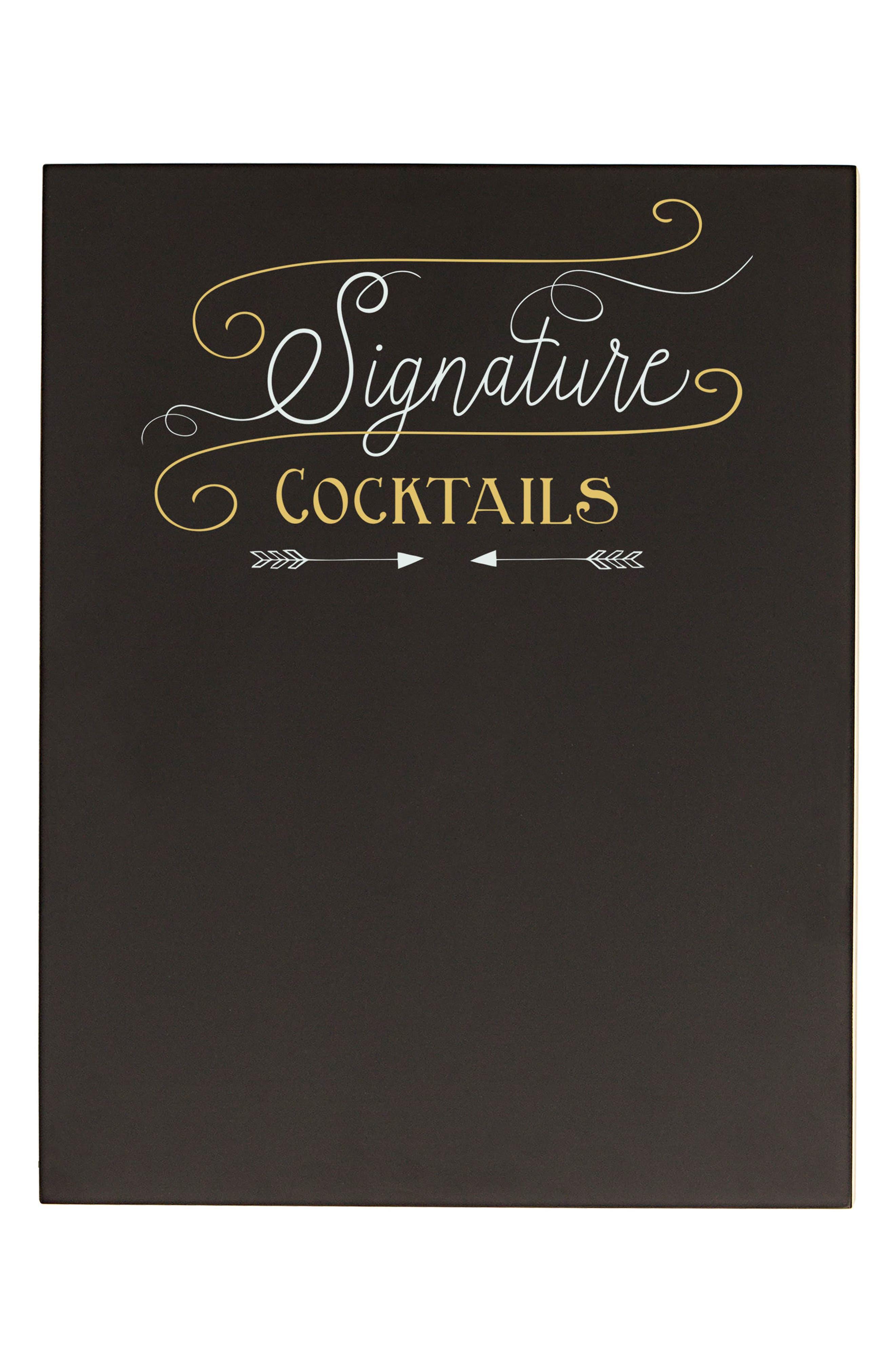 Cocktail Menu Chalkboard Sign,                             Main thumbnail 1, color,                             001
