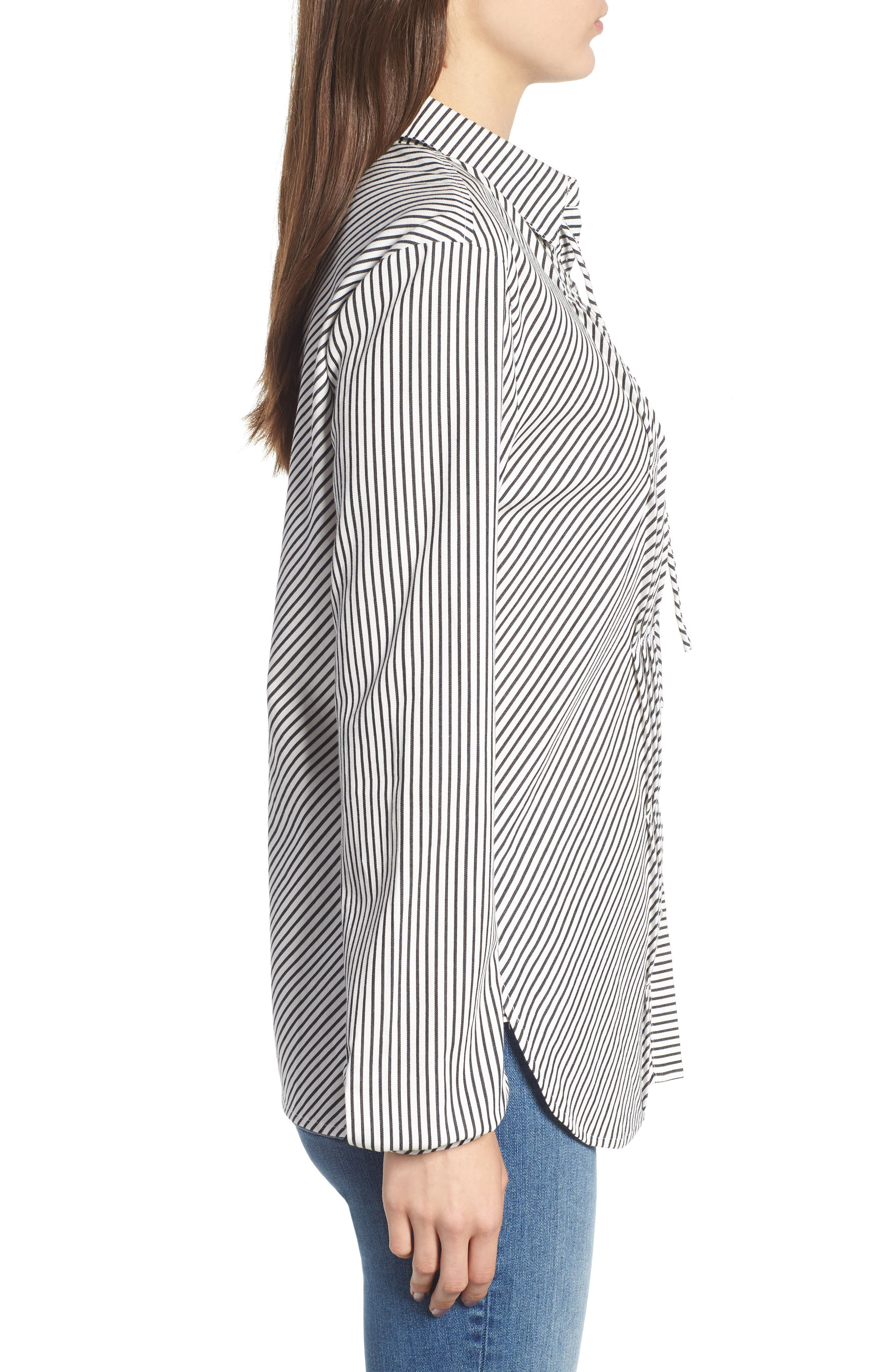 Stripe Pleat Shirt,                             Alternate thumbnail 3, color,                             BLACK/ WHITE PIN STRIPE