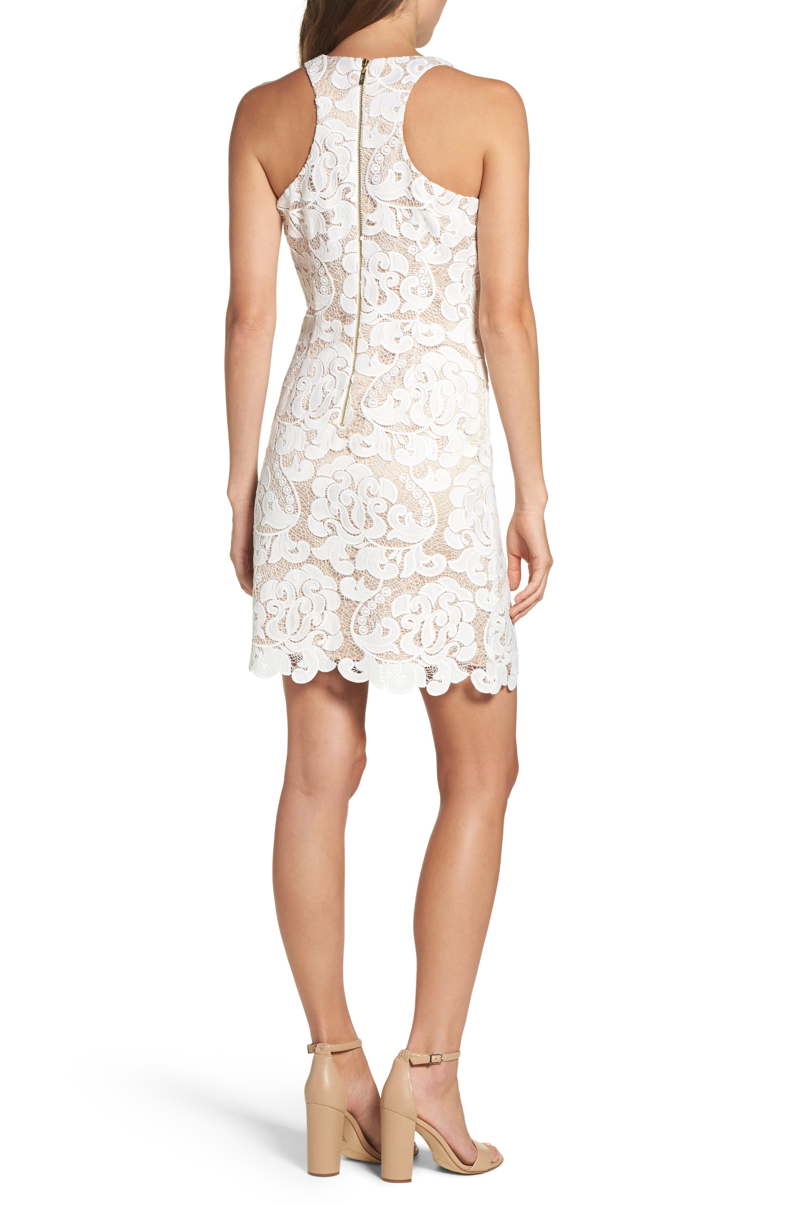 Lace Sheath Dress,                             Alternate thumbnail 2, color,                             IVORY