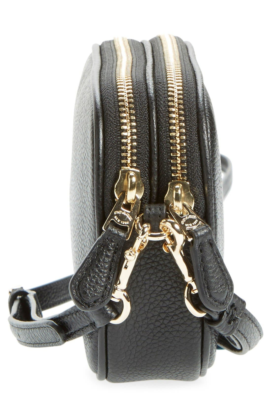 Convertible Leather Crossbody Bag,                             Alternate thumbnail 4, color,                             001