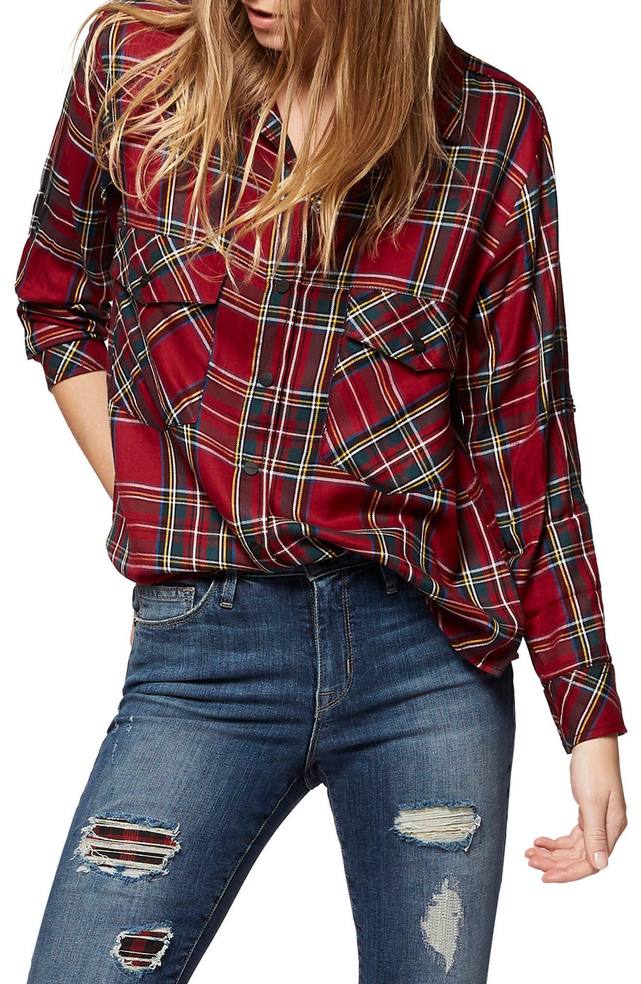 Plaid Boyfriend Shirt,                             Main thumbnail 5, color,