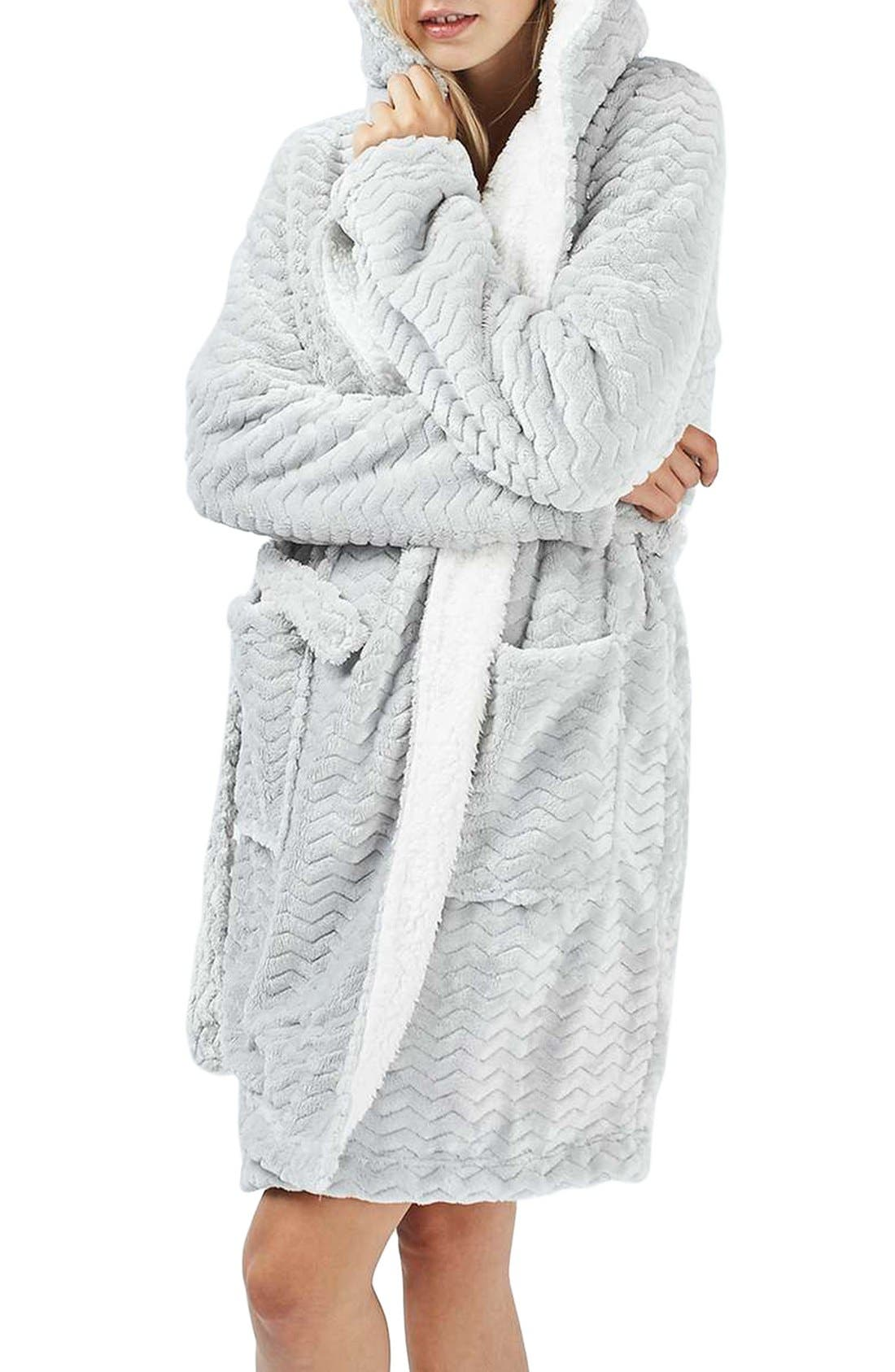 TOPSHOP Teddy Hooded Chevron Robe, Main, color, 020