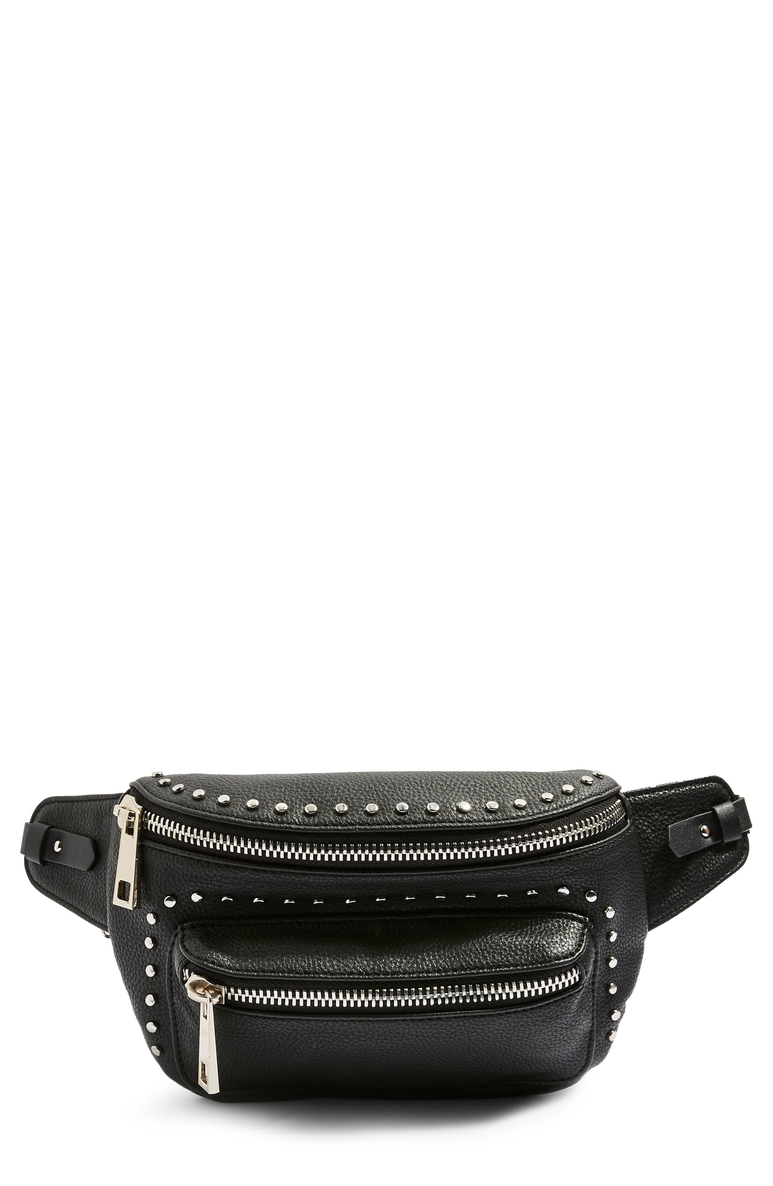 Branden Chain Belt Bag,                         Main,                         color, BLACK