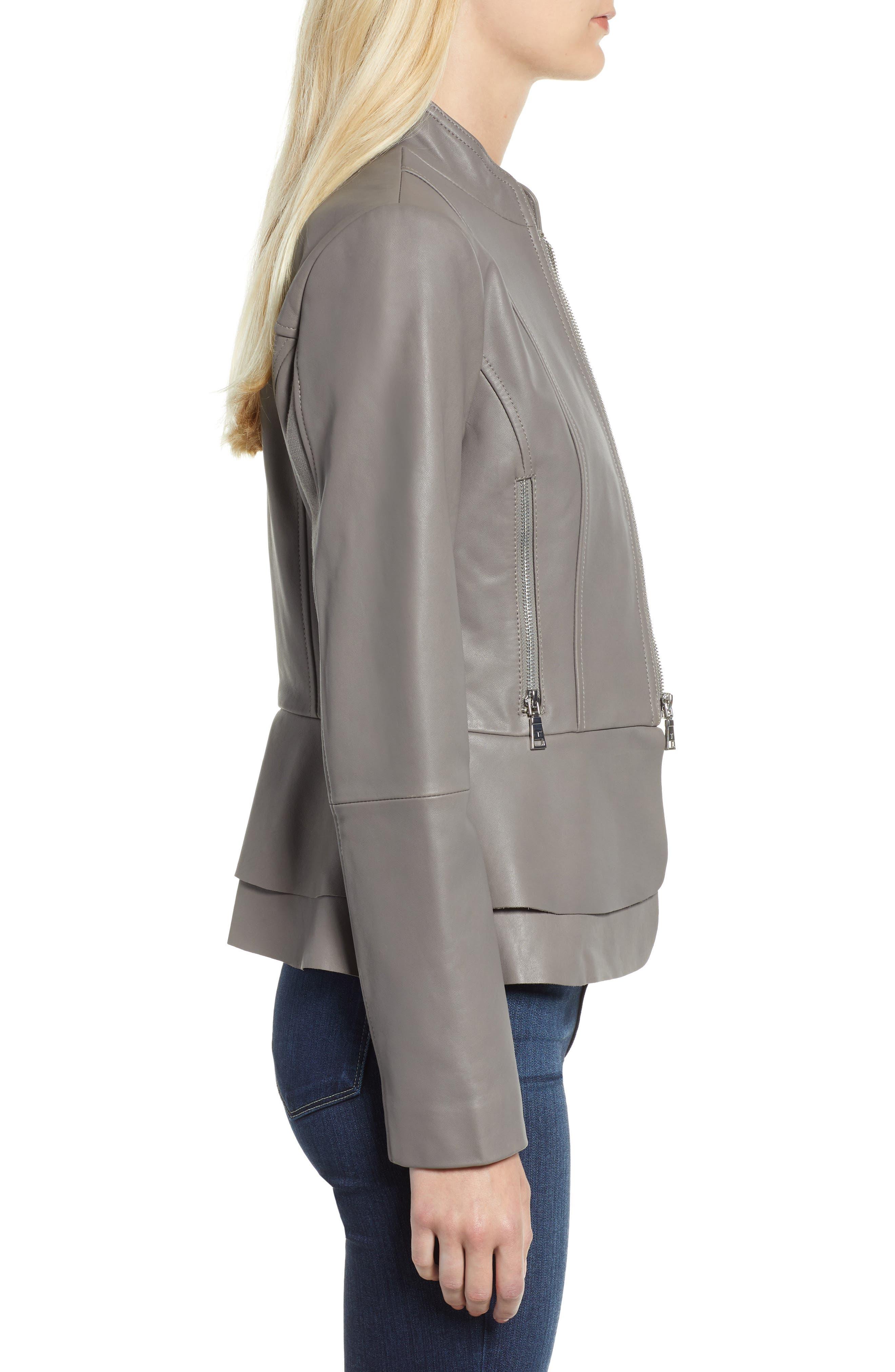 Thea Peplum Hem Leather Jacket,                             Alternate thumbnail 3, color,                             020