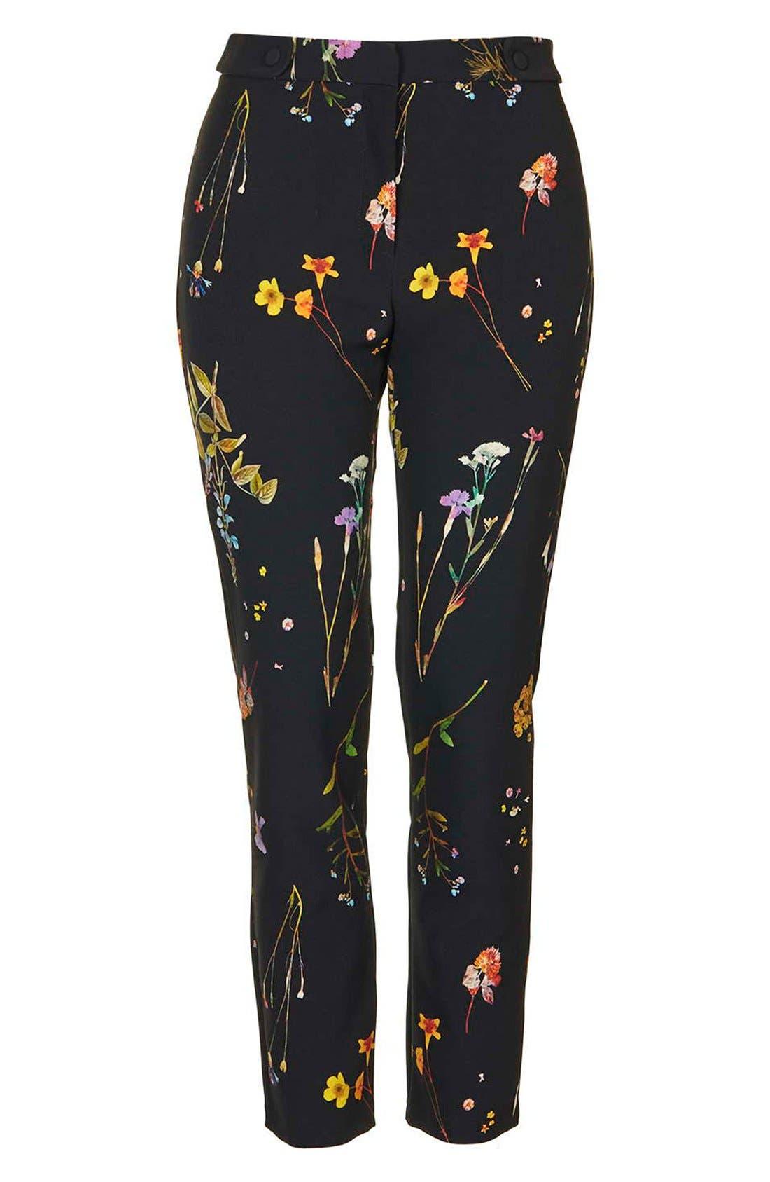 Floral Crop Cigarette Pants,                             Alternate thumbnail 2, color,                             001