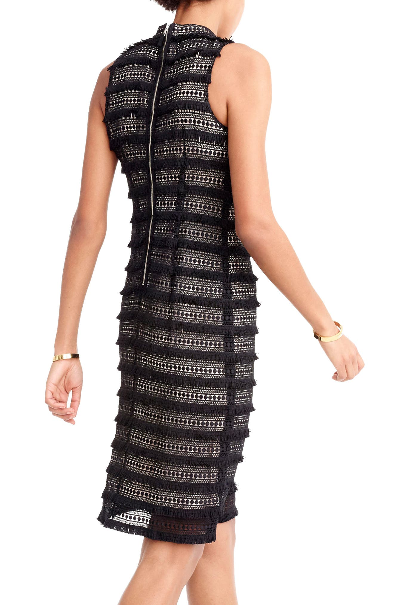 Fringy Lace Sheath Dress,                             Alternate thumbnail 2, color,                             001