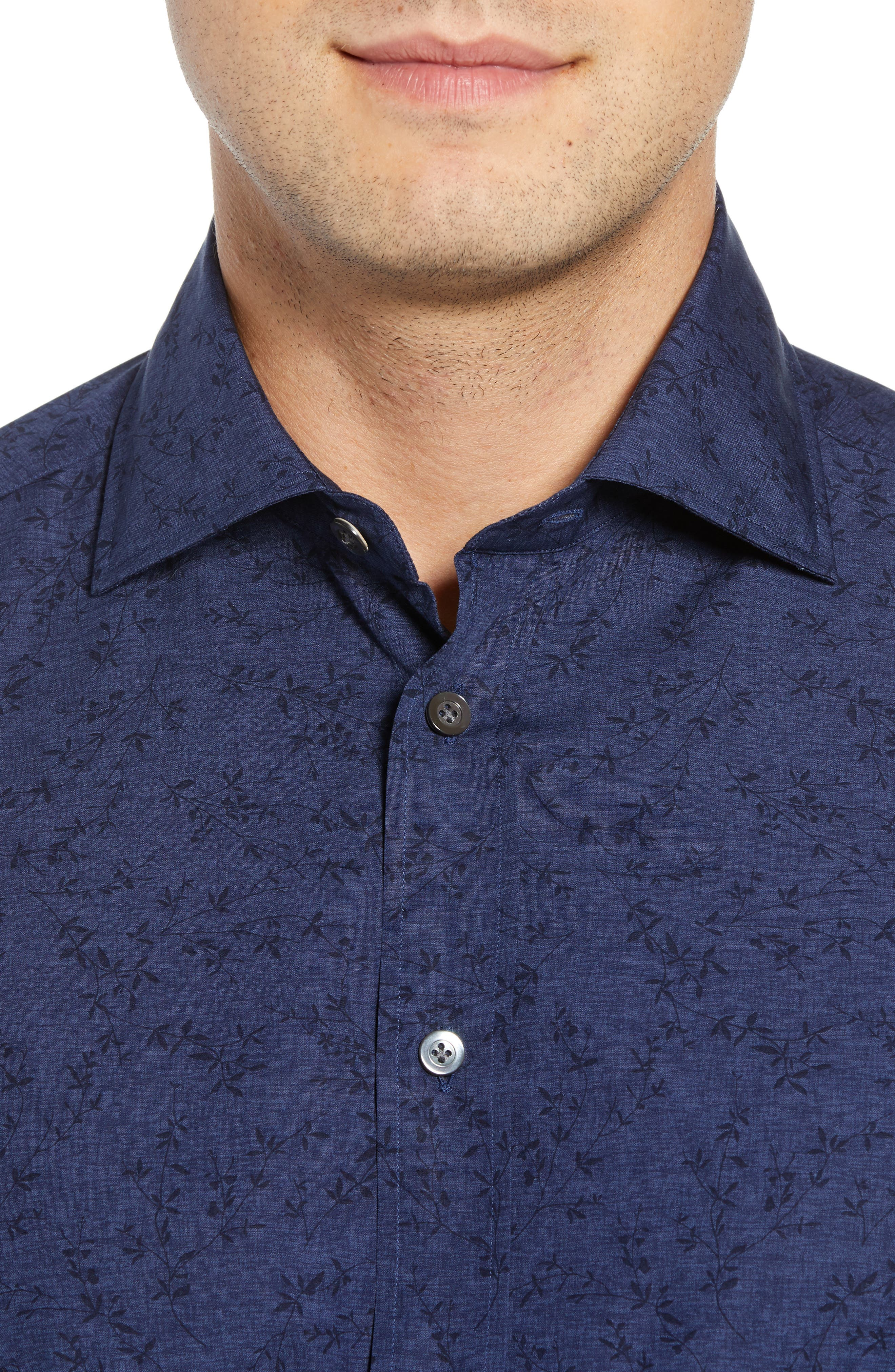 Slim Fit Print Dress Shirt,                             Alternate thumbnail 2, color,                             NAVY