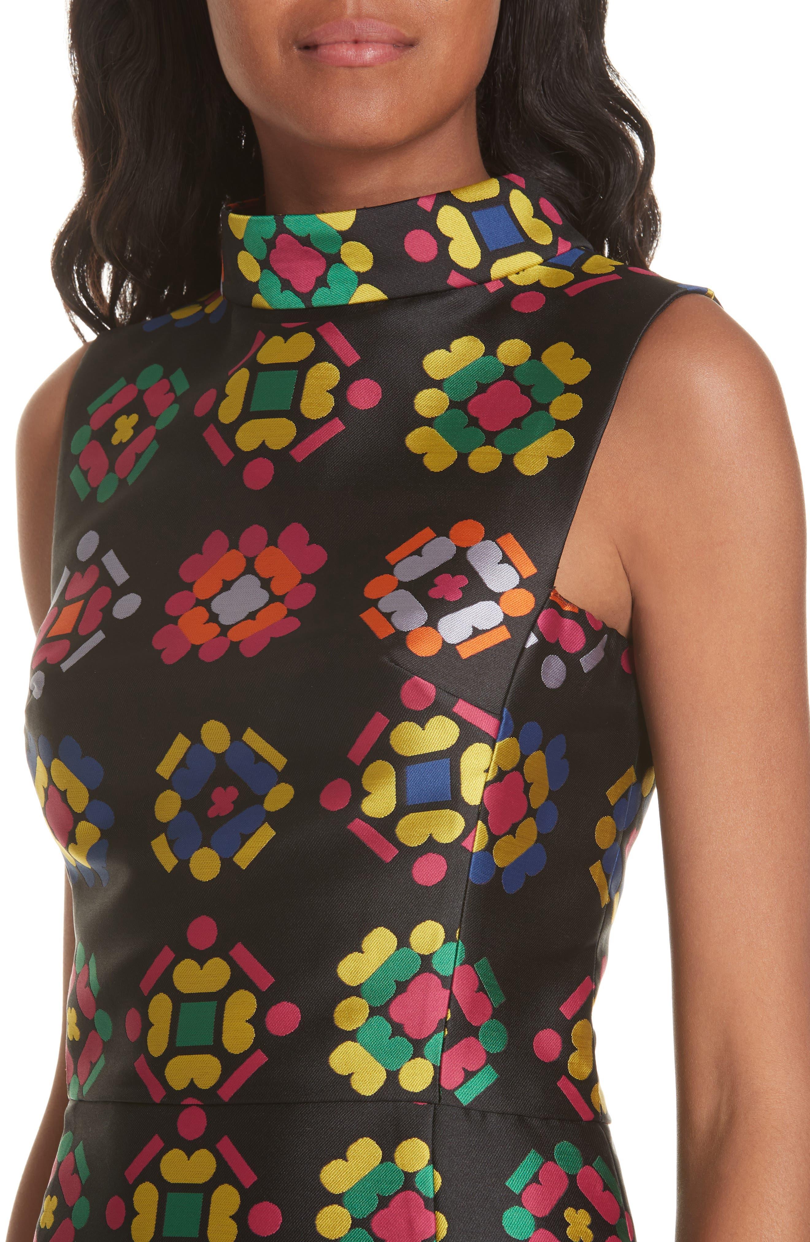 Melinda Geometric Jacquard Sheath Dress,                             Alternate thumbnail 4, color,                             001