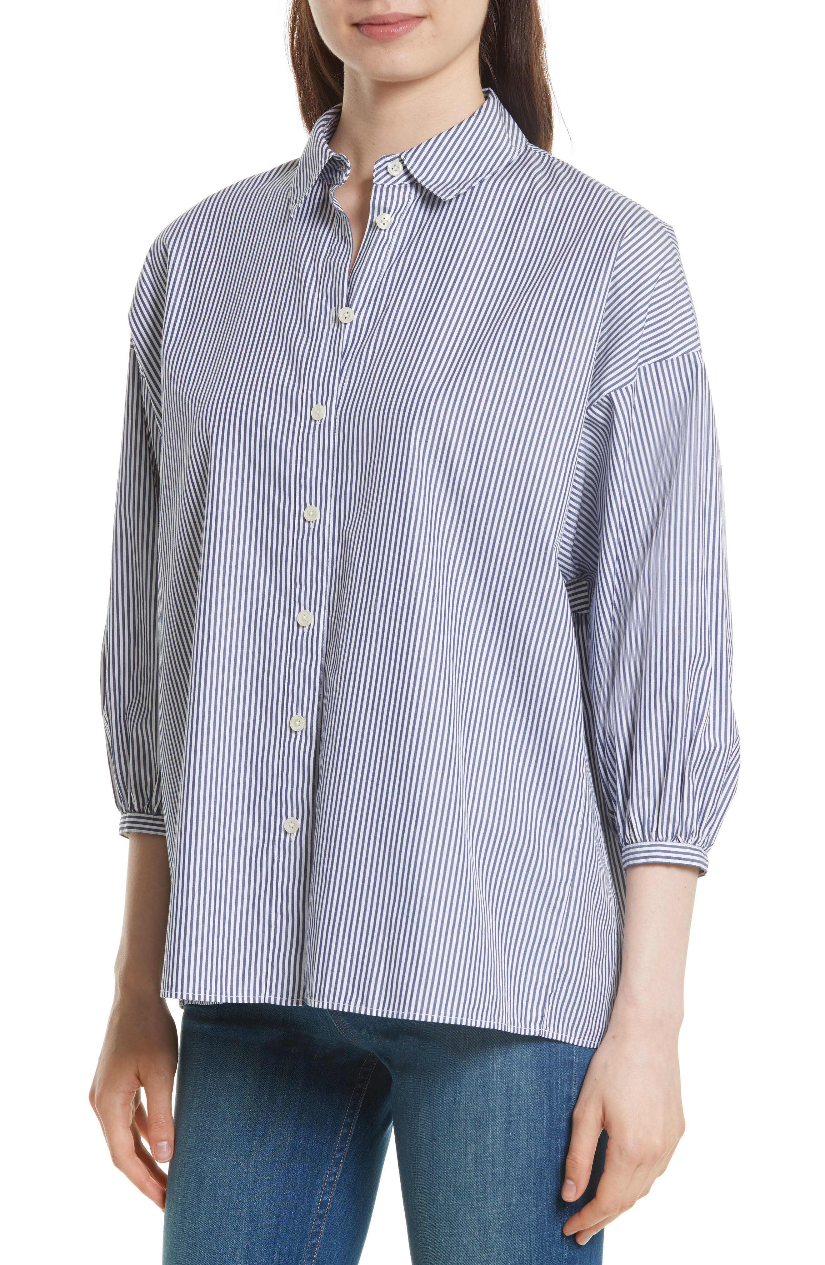 The Easy Stripe Cotton Shirt,                             Alternate thumbnail 4, color,                             400
