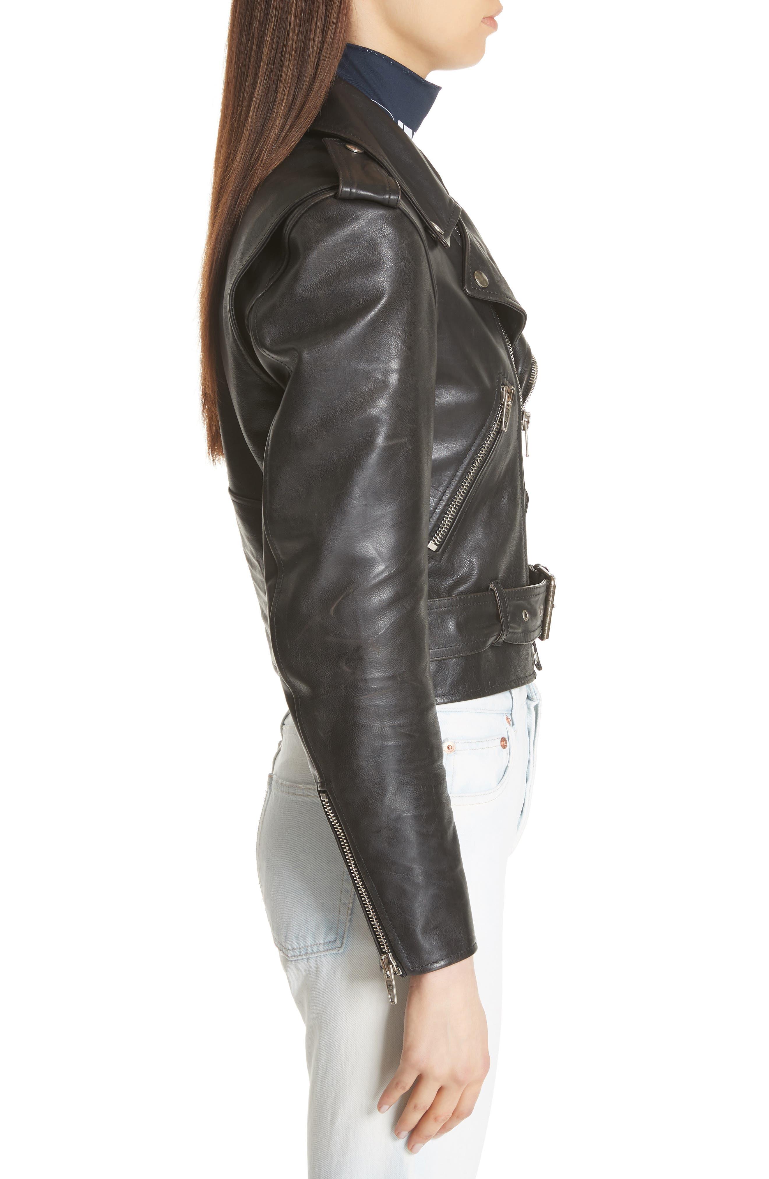 Logo Sleeve Leather Moto Jacket,                             Alternate thumbnail 3, color,                             BLACK
