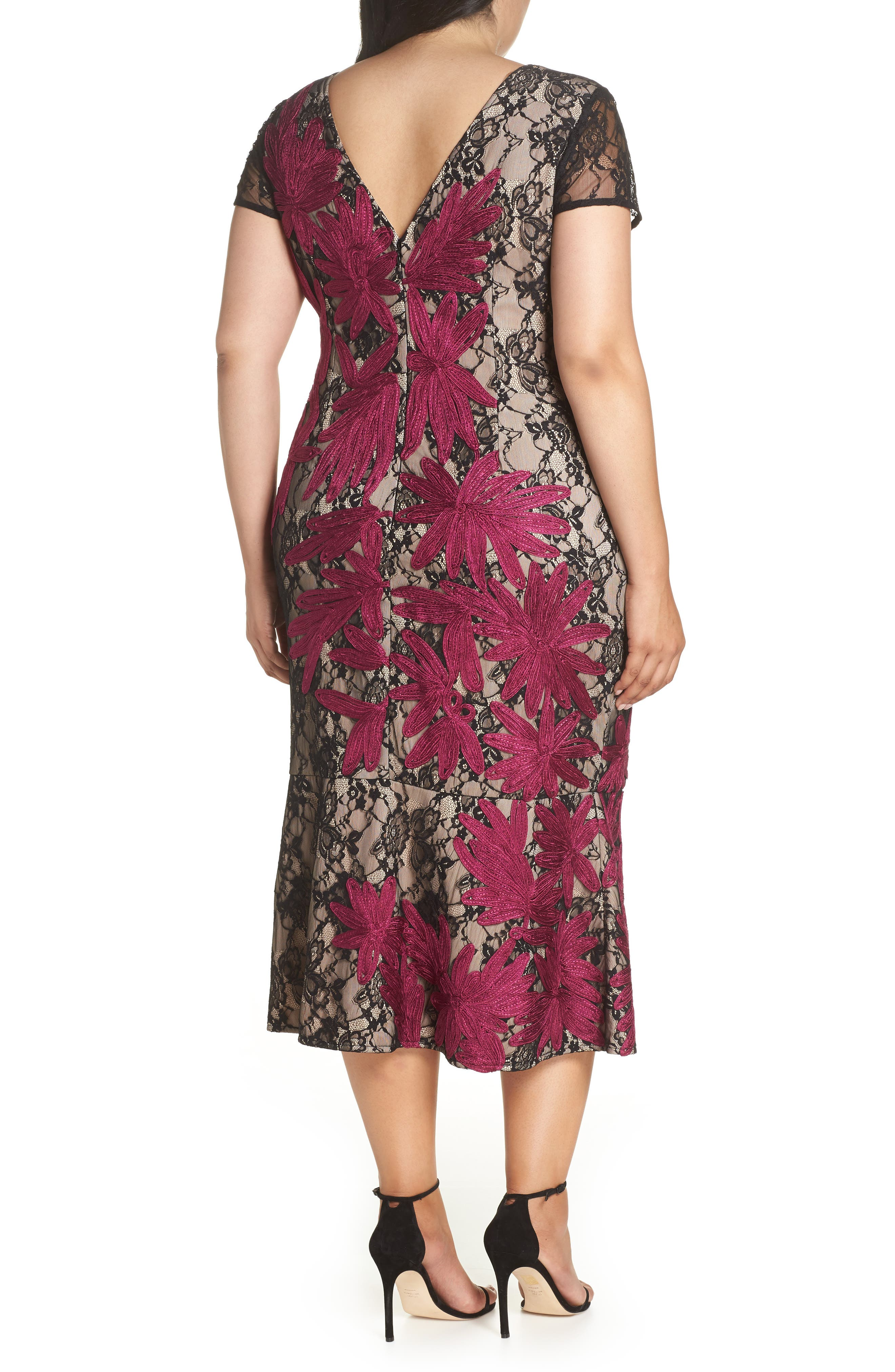 Two Tone Embroidered Lace Dress,                             Alternate thumbnail 2, color,                             BLACK/ MAGENTA