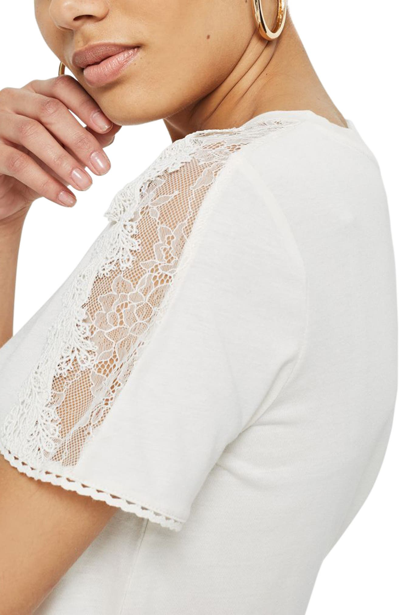 TOPSHOP,                             Lace Trim Tee,                             Alternate thumbnail 3, color,                             900